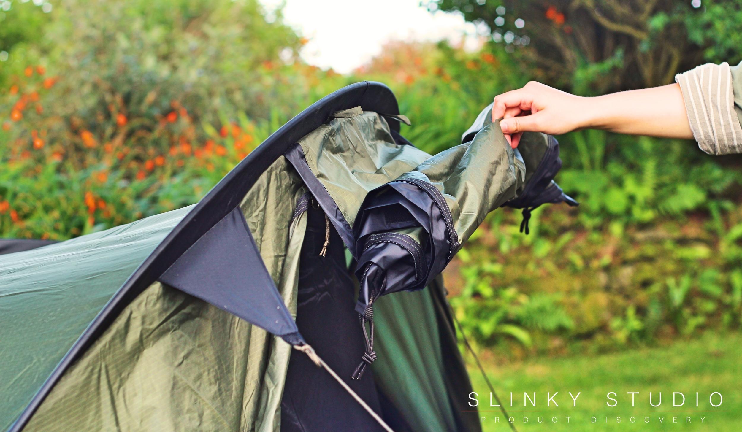 Snugpak Scorpion 3 Tent Rolling Down Door.jpg