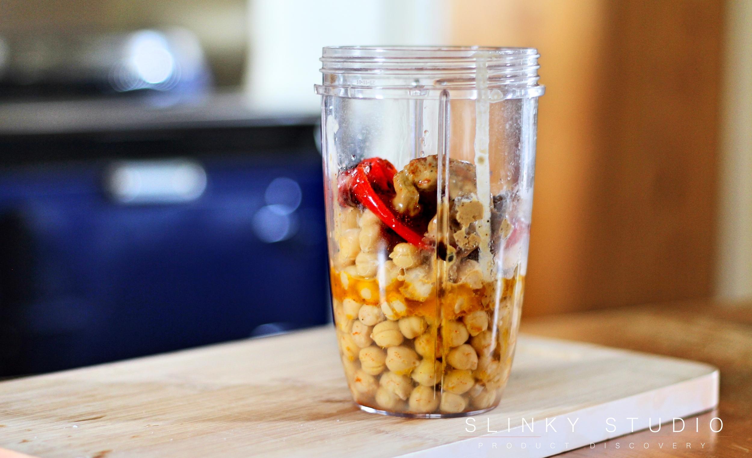 Nutribullet PRO 900 Series Blender Red Pepper Humous Ingredients in Jar.jpg
