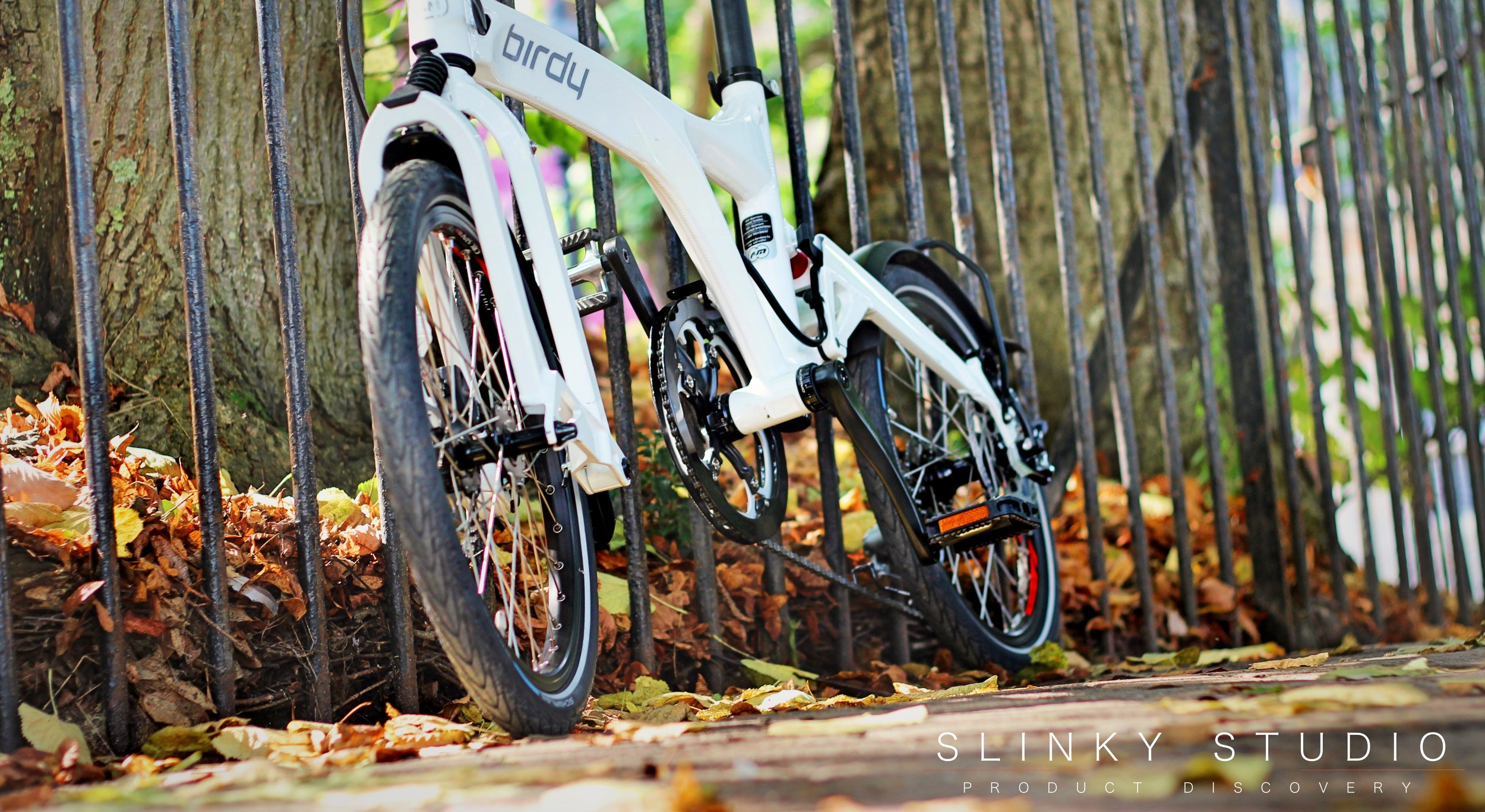 Birdy Speed Folding Bike White Leafy Autumn Path Ground View.jpg