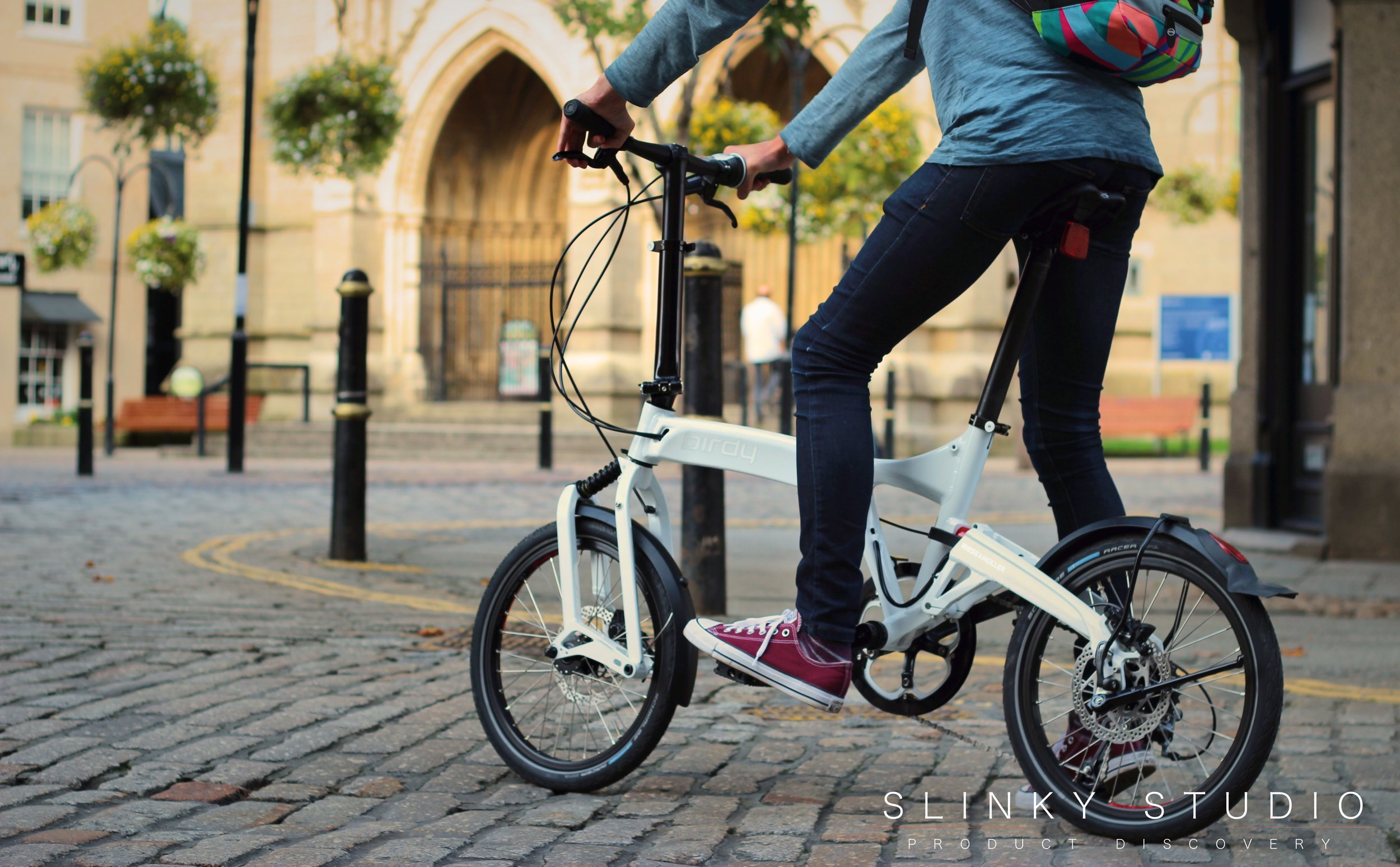Birdy Speed Folding Bike Riding in front of Cathedral.jpg