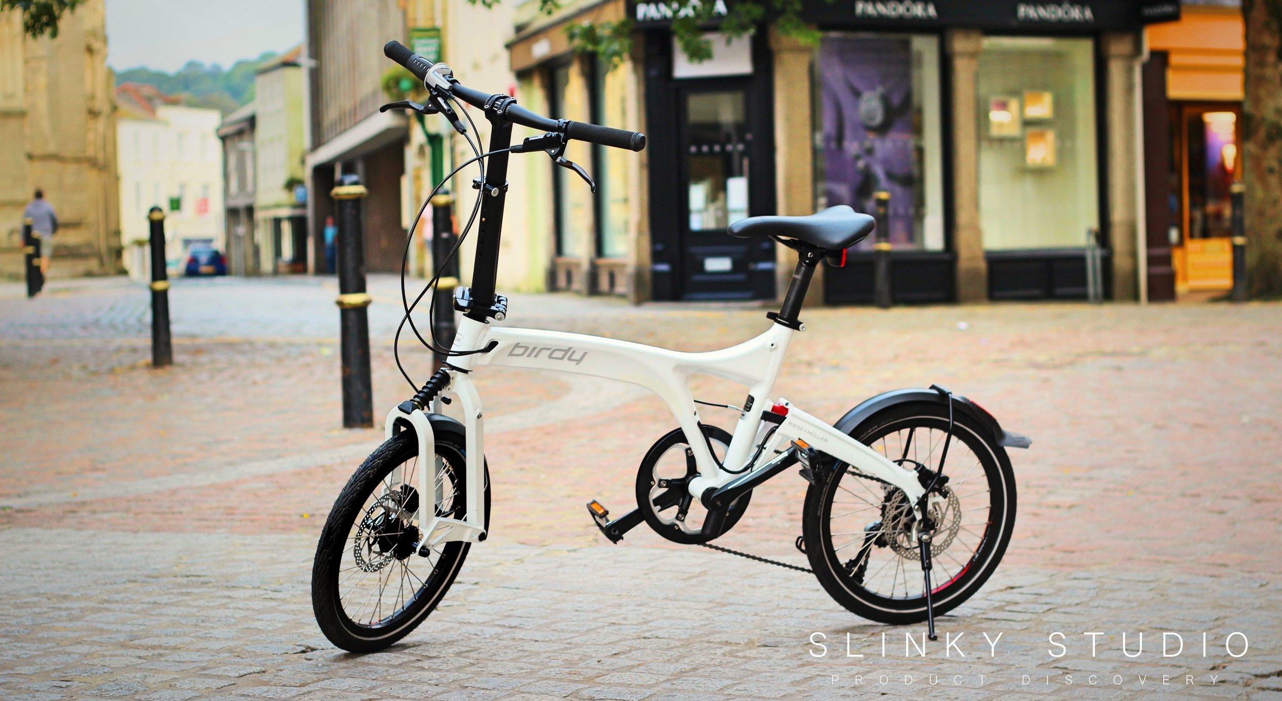 Birdy Speed Folding Bike Standing in middle of city.jpg