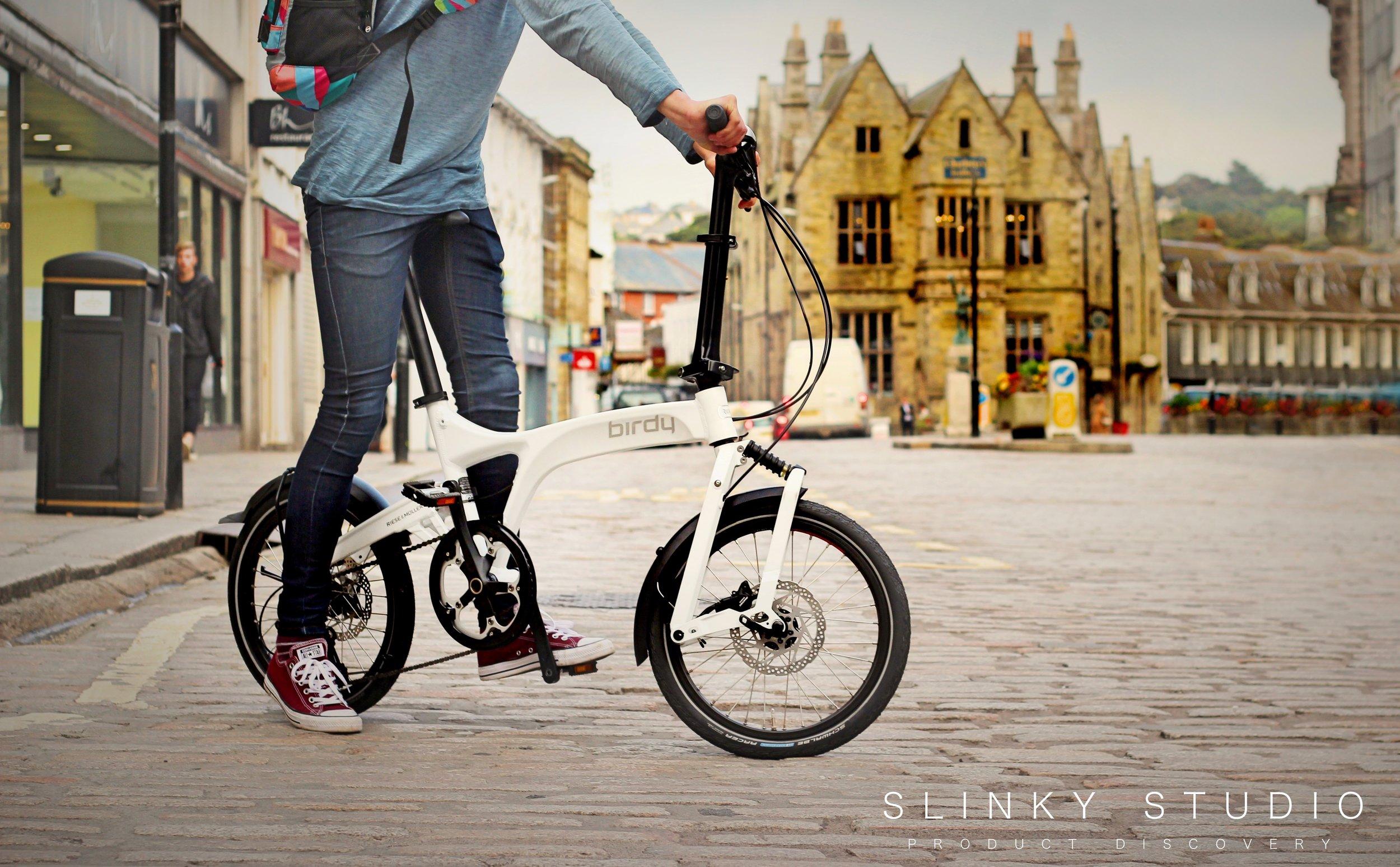 Birdy Speed Folding Bike Riding on Scenic Cobbled European City.jpg