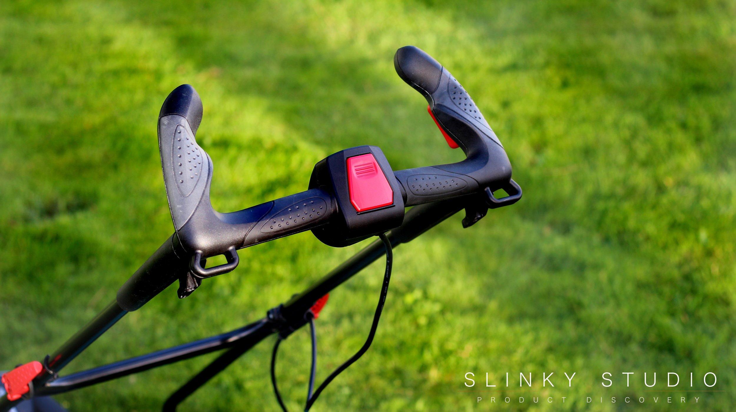 Bosch Rotak 43 LI Ergoflex Cordless Lawnmower Handle Above View of Grips.jpg