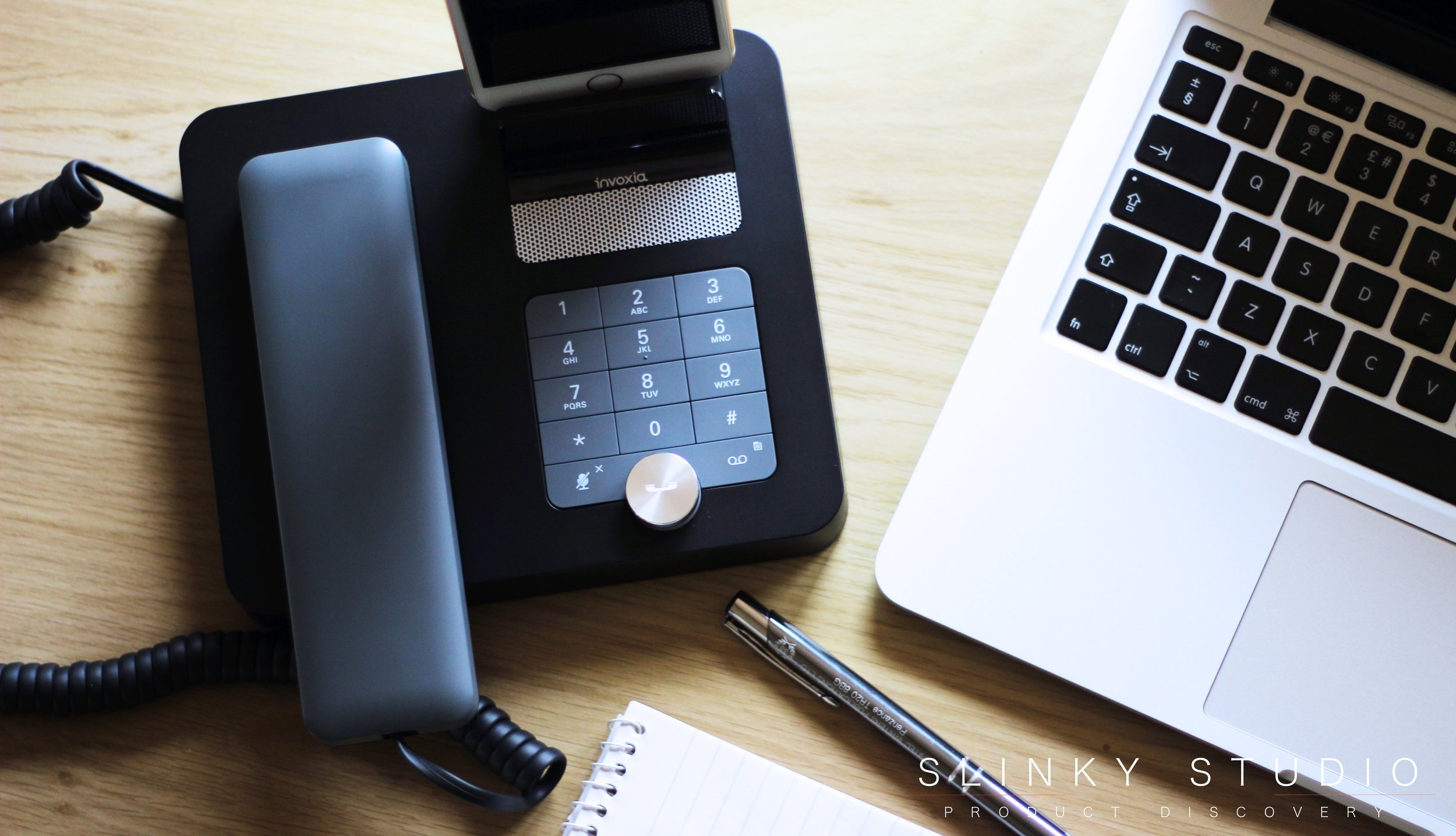 Invoxia NVX 200 Desk Phone with iPhone 6s Plus.jpg