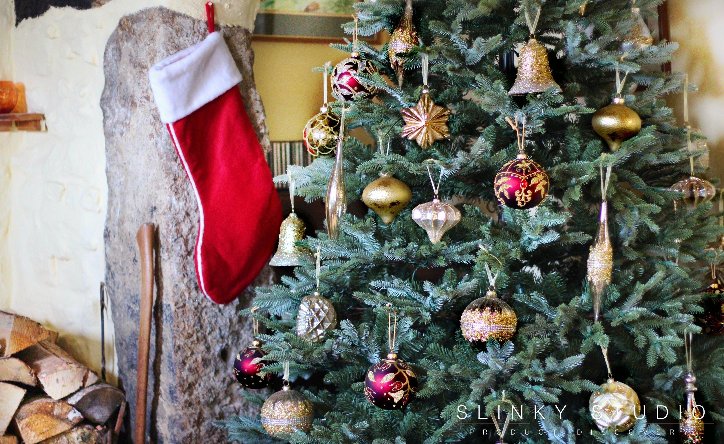Balsam Hill Fraser Fir Christmas Tree Burgandy Hand Made Baubles Feature.jpg