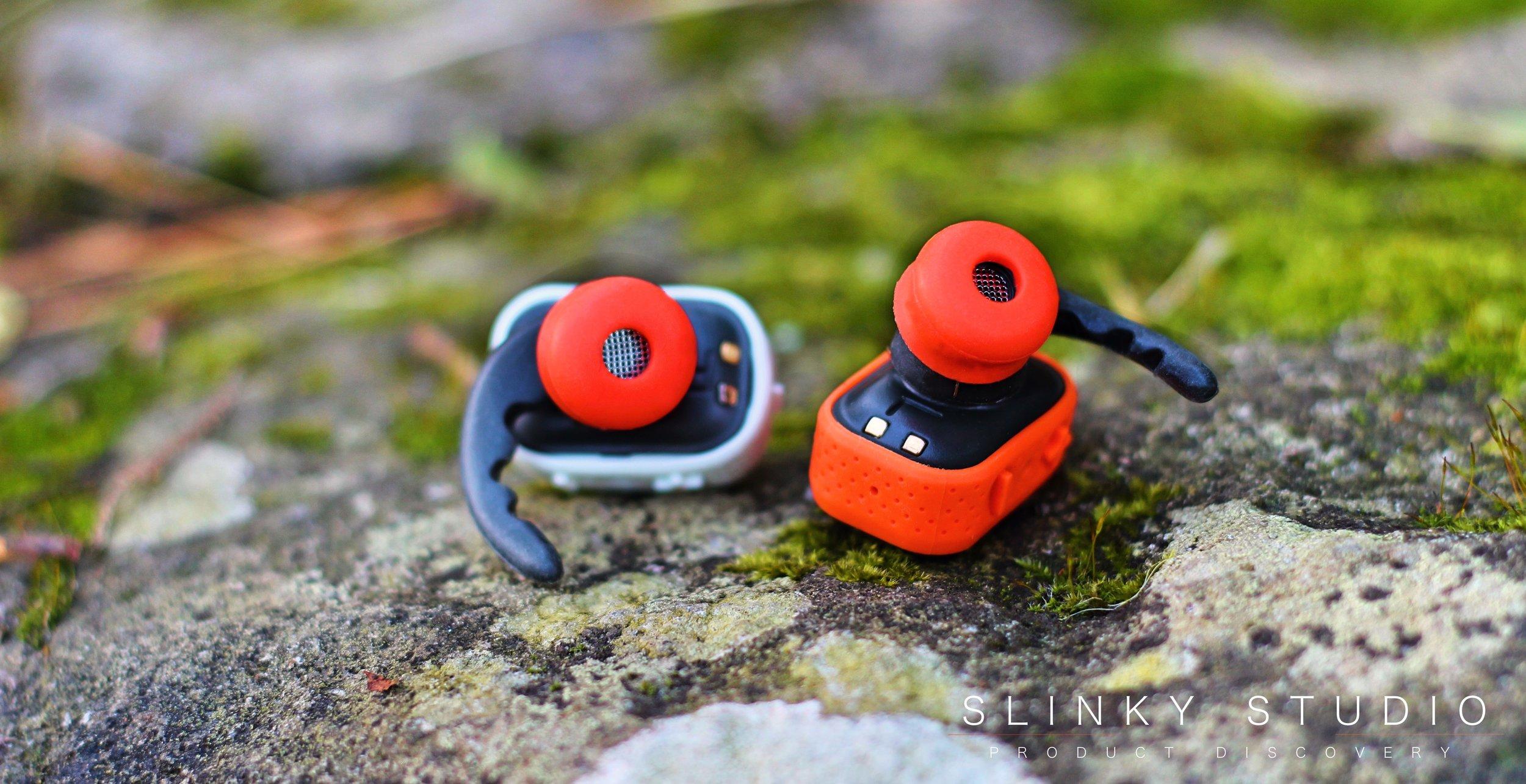 PKparis K'asq Earbuds Orange Silicone Ear Tips on rock.jpg