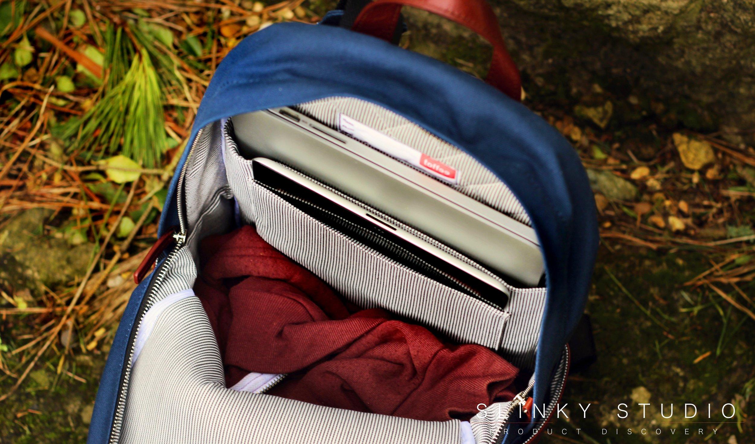 Toffee Berlin Backpack Interior Space Capacity.jpg