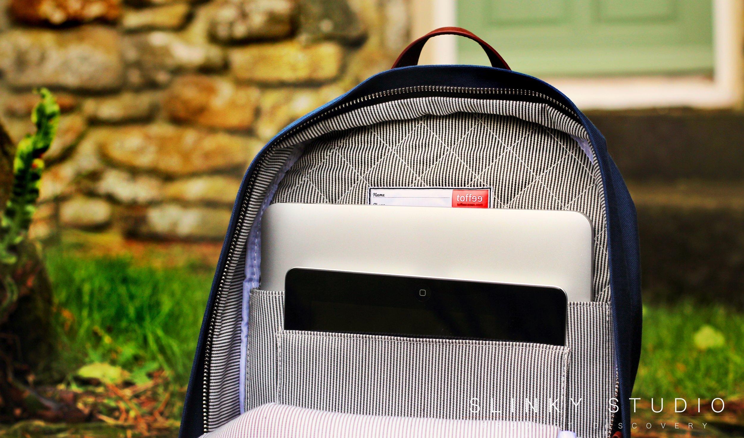 Toffee Berlin Backpack MacBook Pro & iPad Interior Pockets.jpg