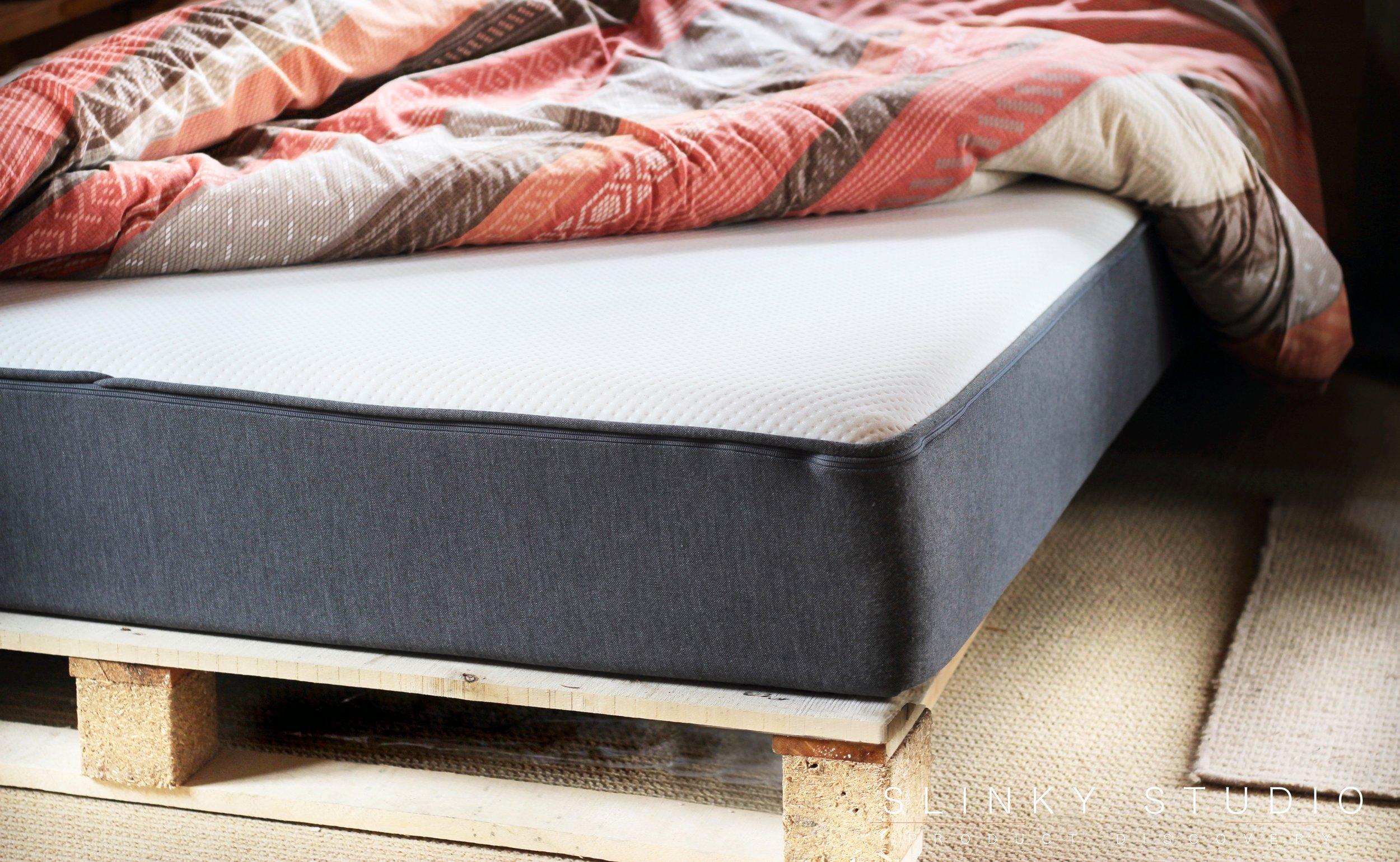 Casper Mattress Front View on Pallet Bed Frame.jpg