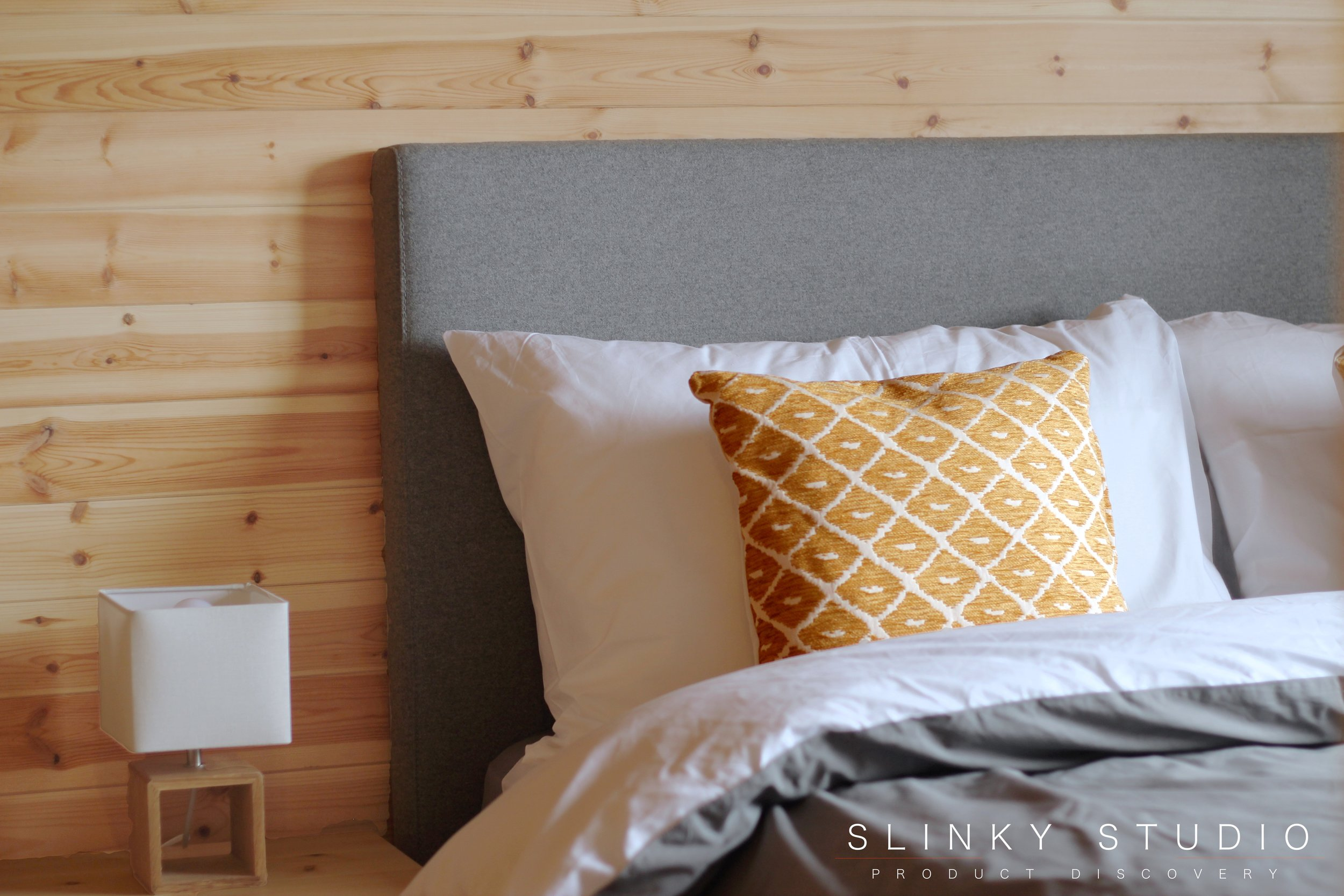eve Bed Frame Headboard Pillow in Scandi Wooden Cornwall Cabin Bedroom.jpg
