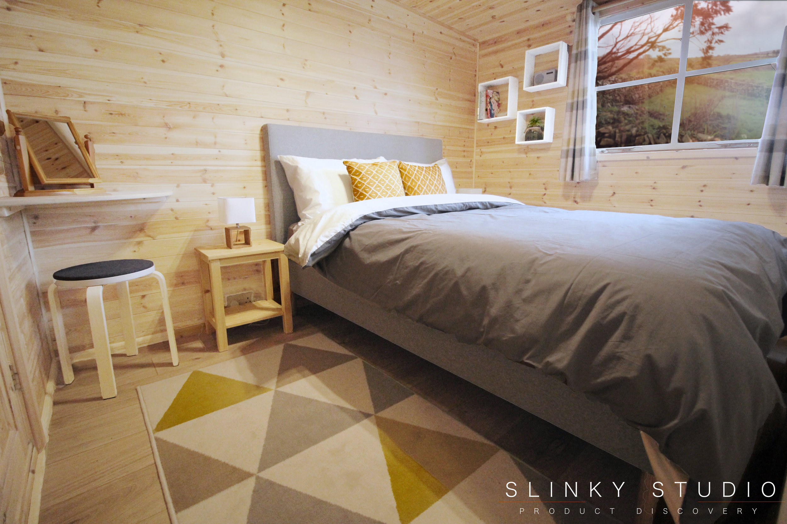 eve Bed Frame in Scandi Wooden Cornwall Cabin Bedroom