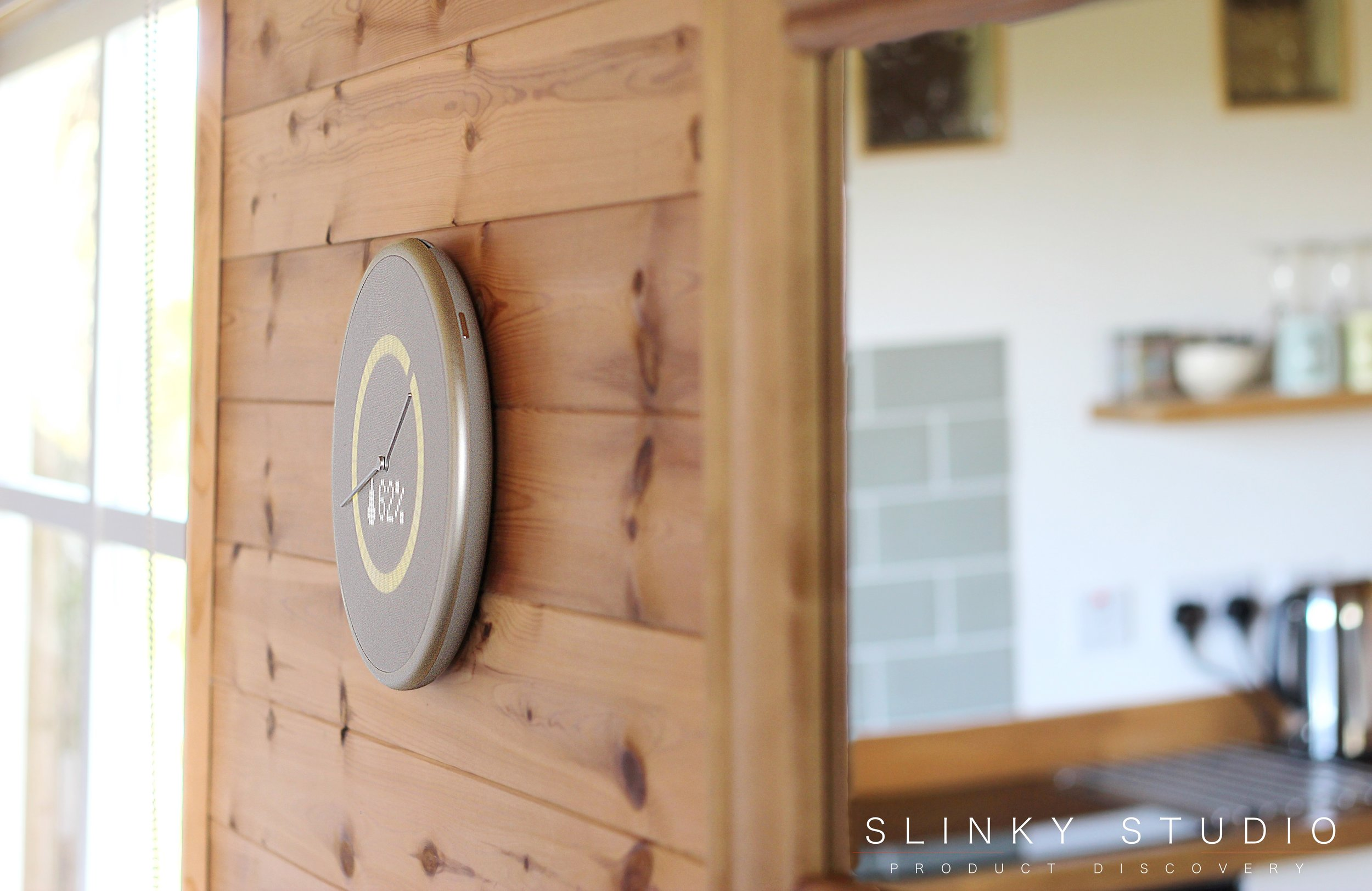 Glance Clock Hanging on Wooden Wall Timer.jpg