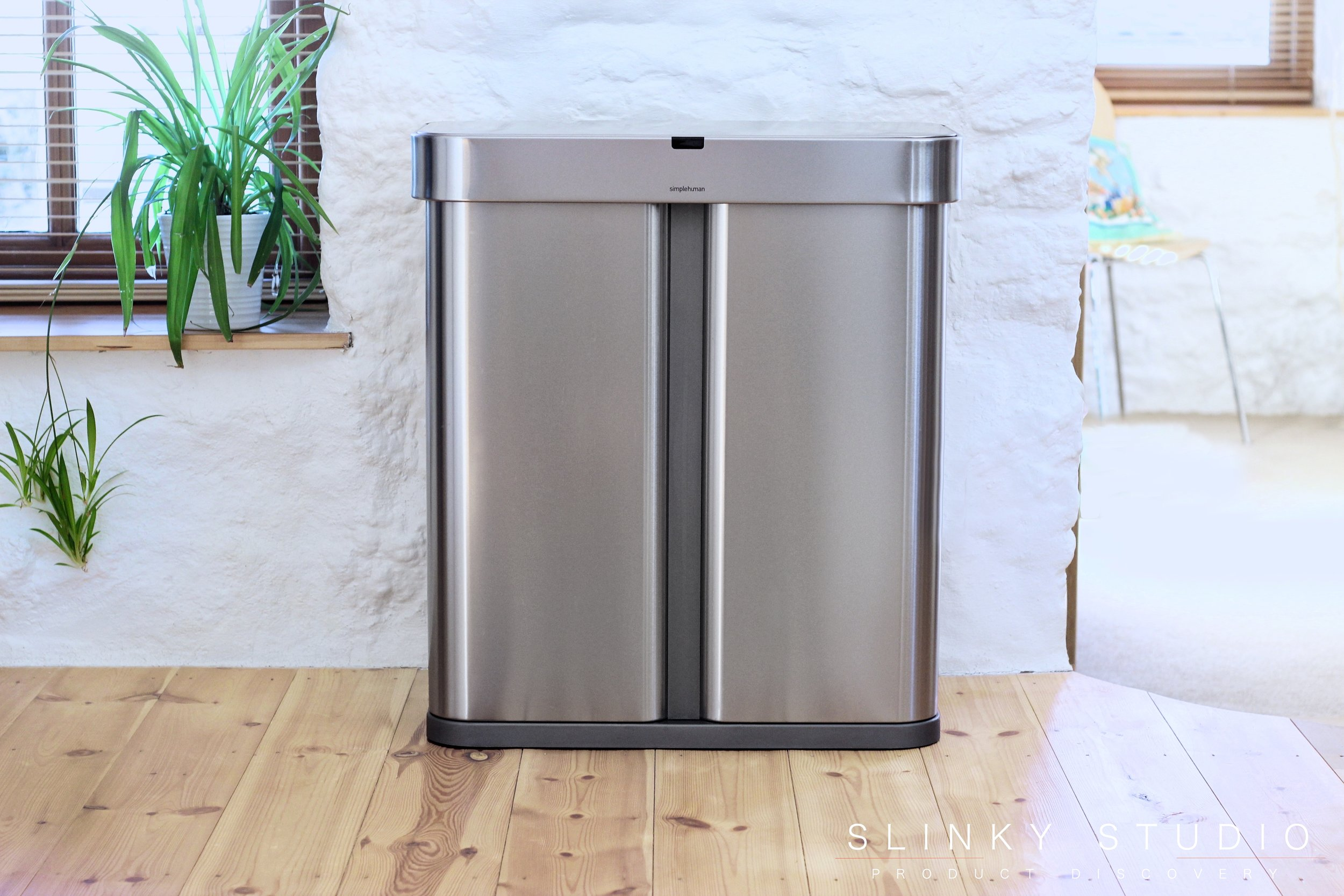simplehuman 58L Voice Activated Dual Compartment Sensor Bin Front View.jpg