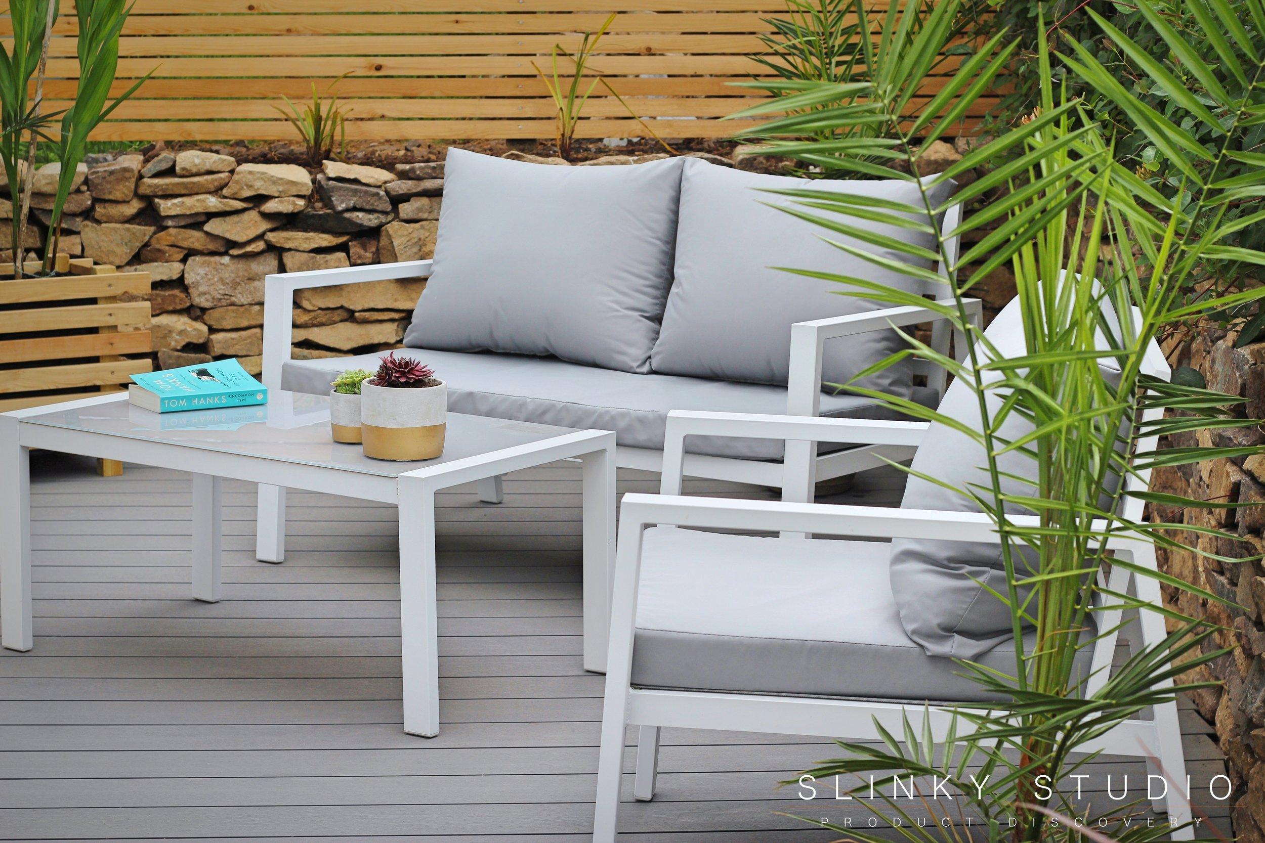Havwoods Trekker Composite Designer Decking Vulcan Grey Lifestyle Photo Furniture Close Up Aluminium 4 Seater Sofa Set.jpg