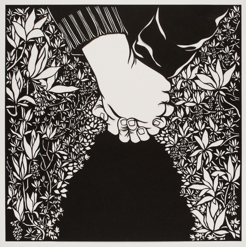- Nikki McClure is an artist who specializes in paper cutting. Her art has a simple but very challenging frame, to sketch an image on a black piece of paper, cut it with an X-Acto knife and make sure it all connects. Each image you see of her work is one single pice of paper! Her artwork invites us to feel something personal and communal. She makes a yearly calendar and children's books. She resides with her family in Olympia, Washington.  www.nikkimcclure.com