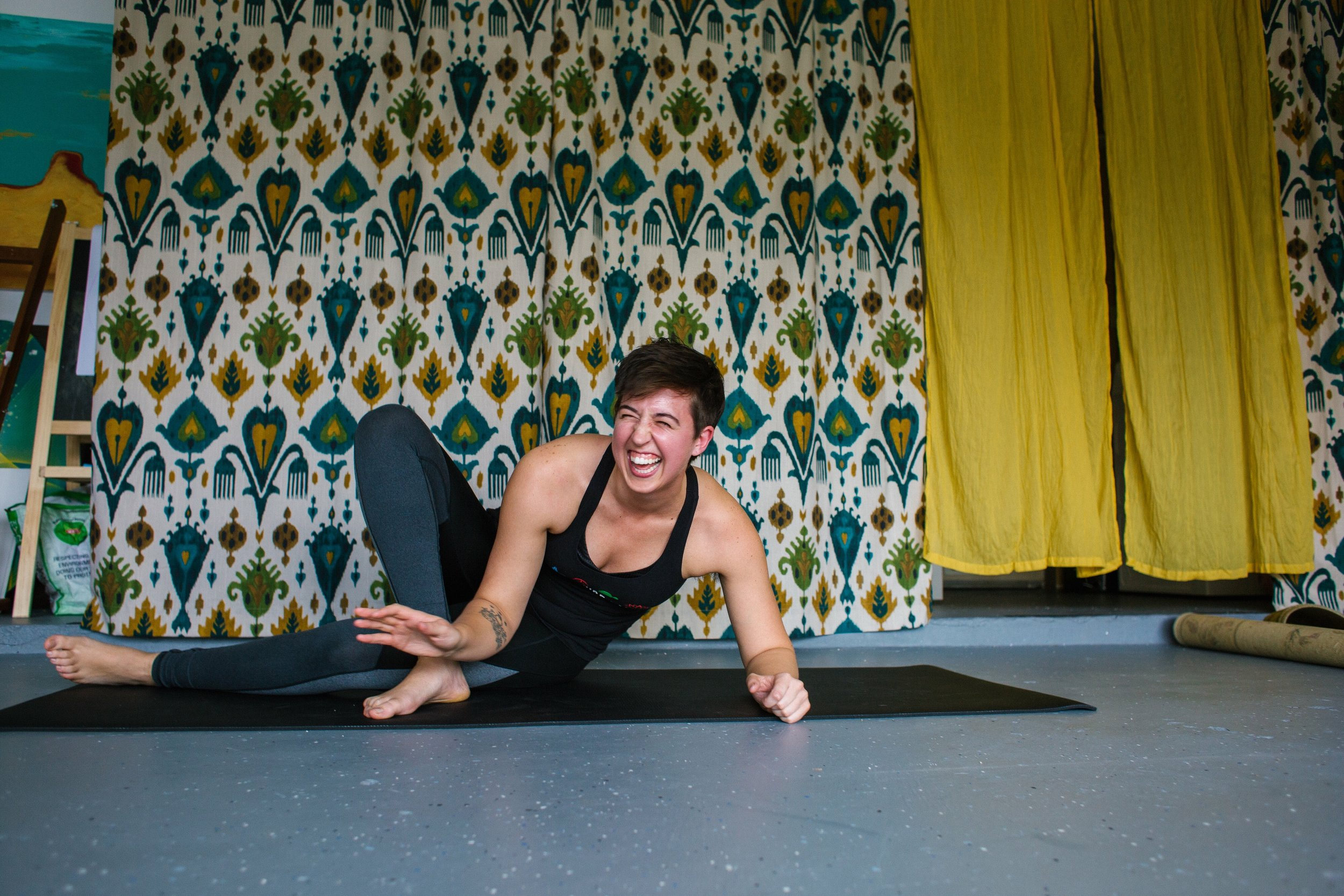 yoga + therapy - Abi Robins brings talks about being present in our bodies long enough to work through pain and get down to the root issues.