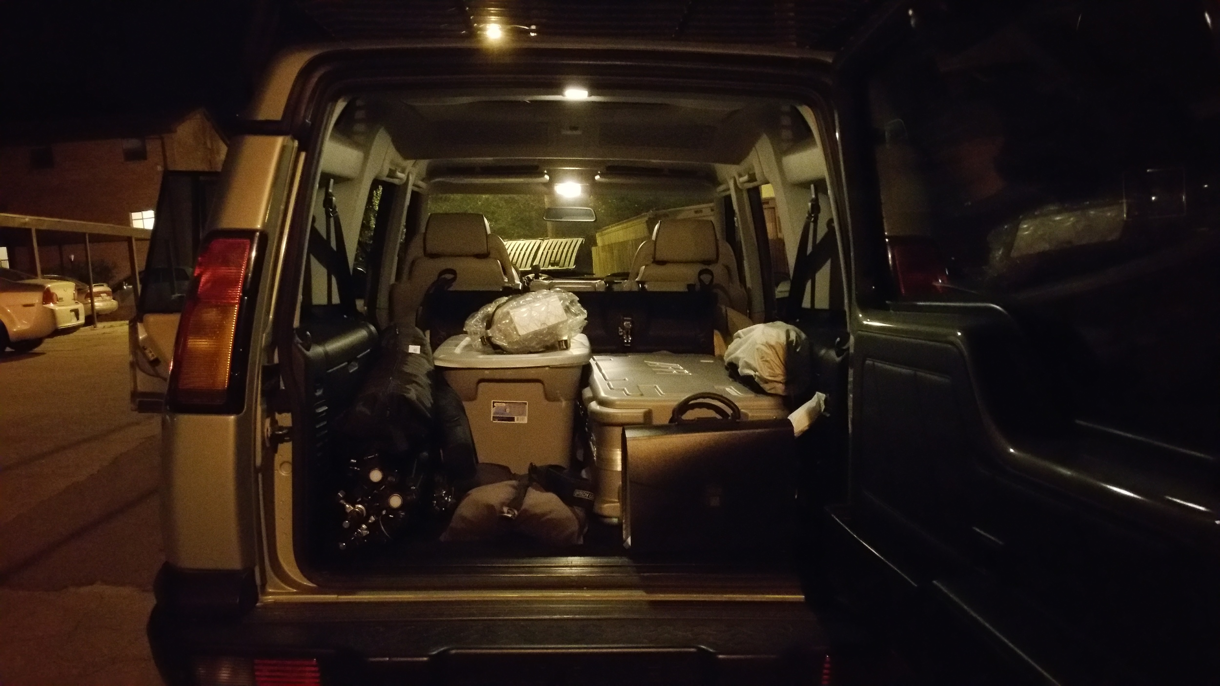 Our beloved Land Rover Discovery, loaded up with the essentials the night before the shoot.
