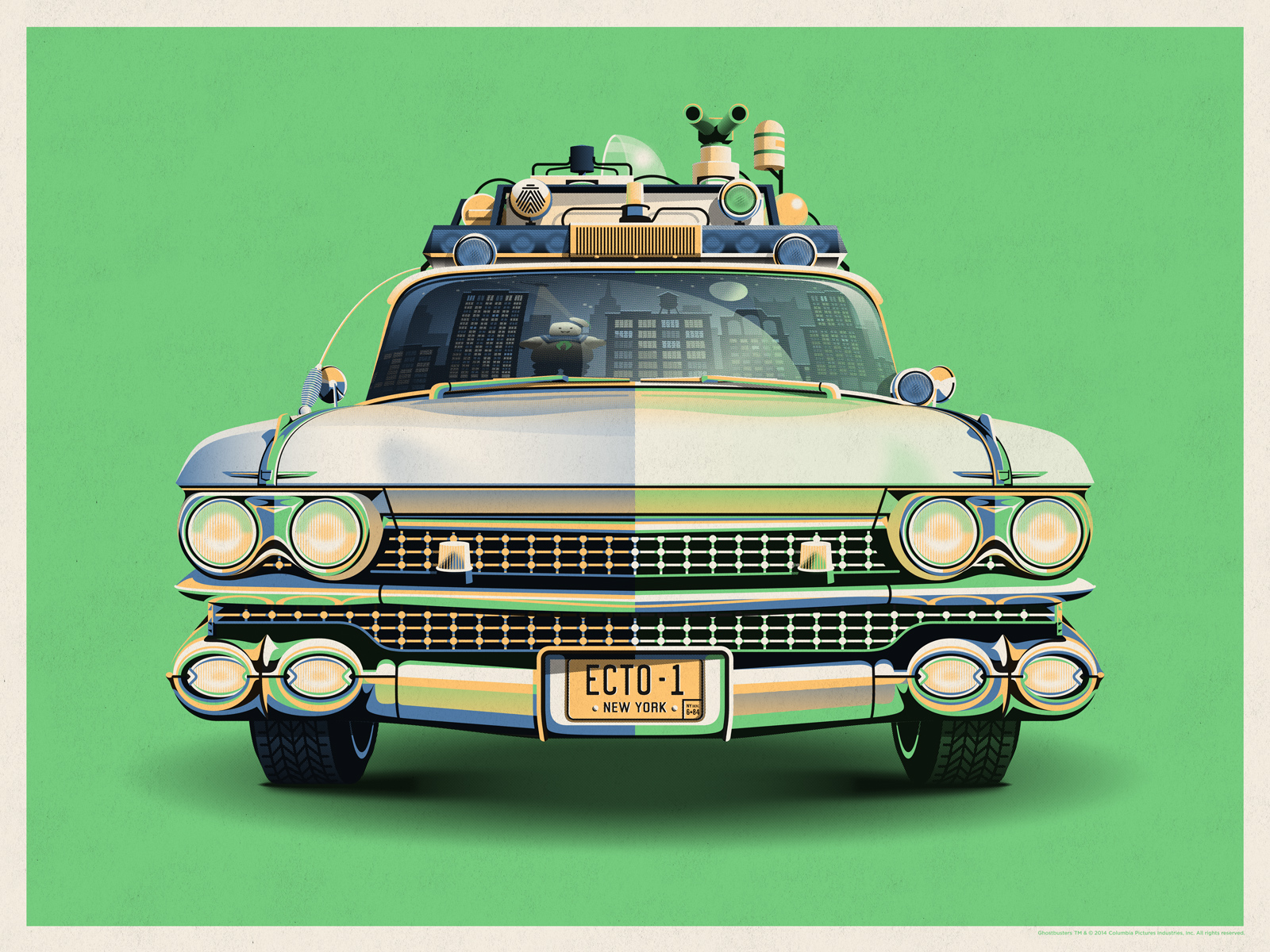 Ghostbusters 30th Anniversary Ecto-1 // Art Print by DKNG