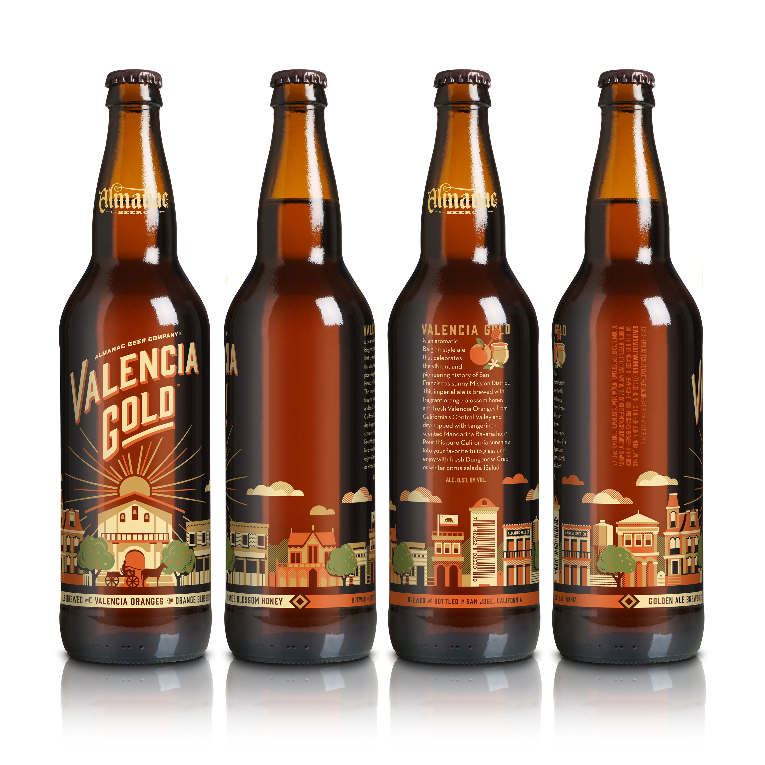 Almanac's Valencia Gold bottle design by DKNG