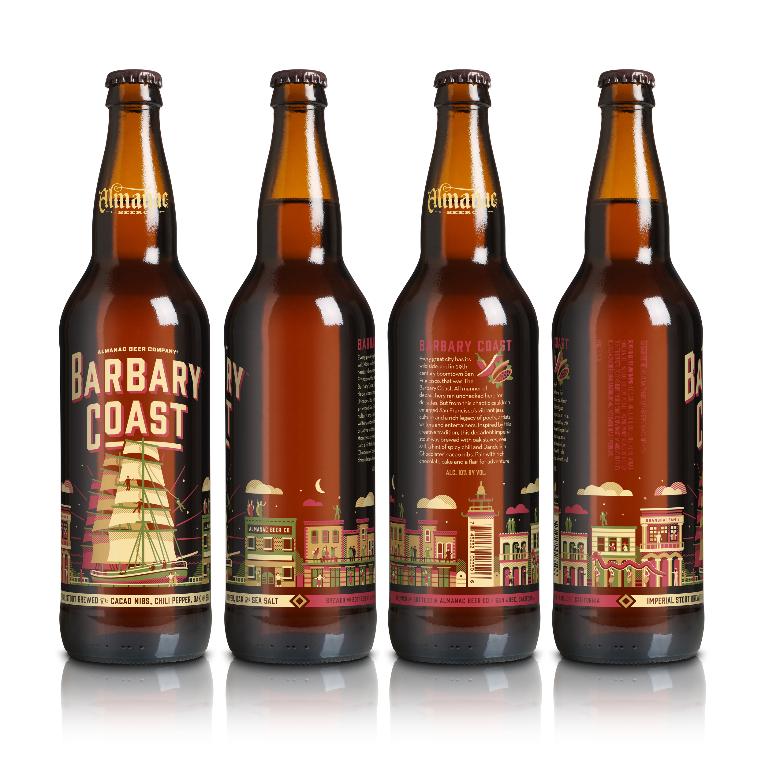 Almanac's Barbary Coast bottle design by DKNG
