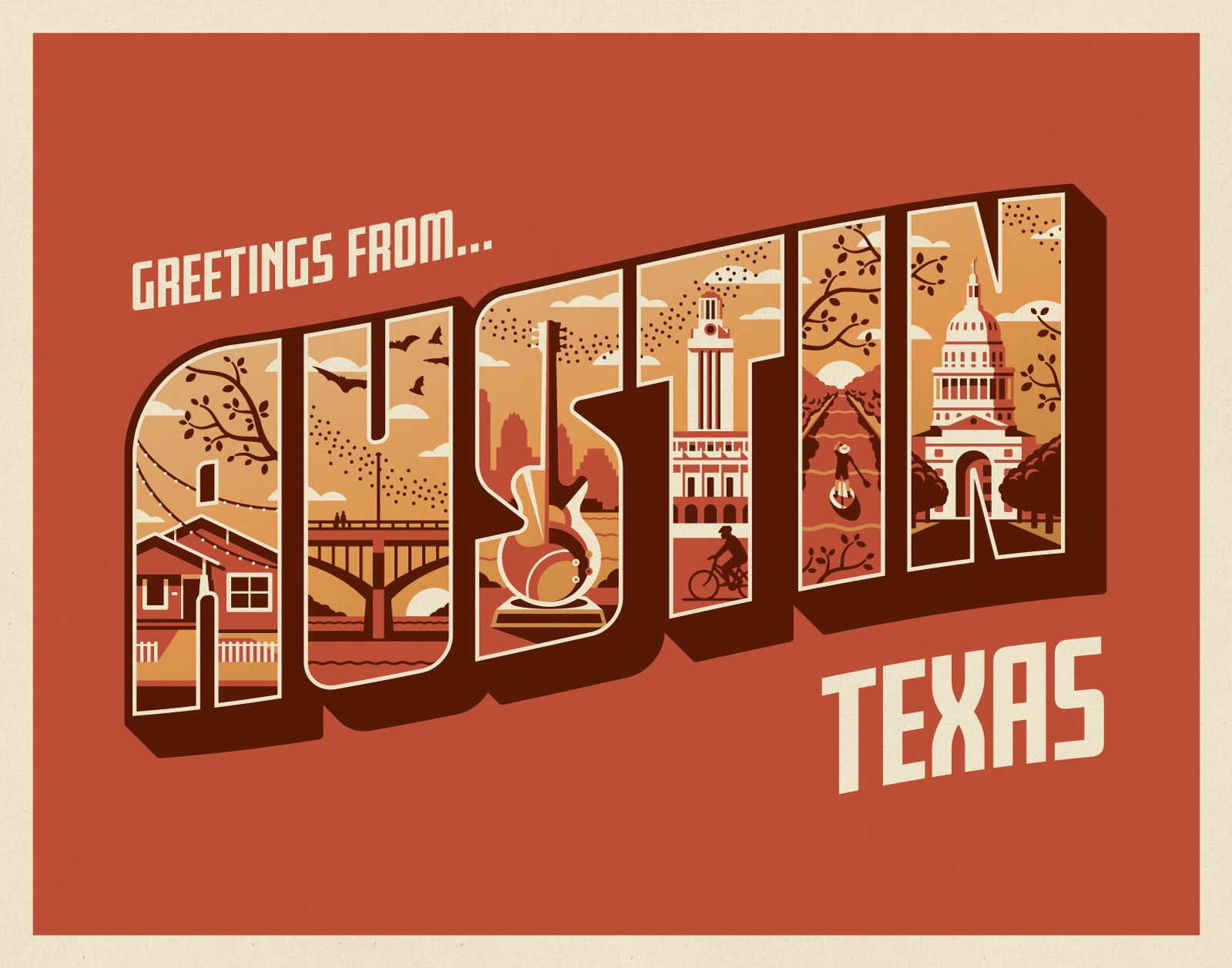 Greetings From Austin Art Print by DKNG