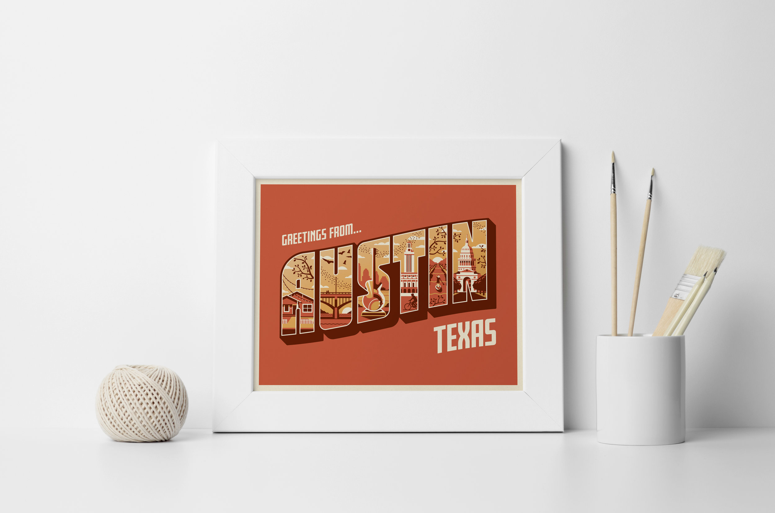 Greeting From Austin Art Print by DKNG