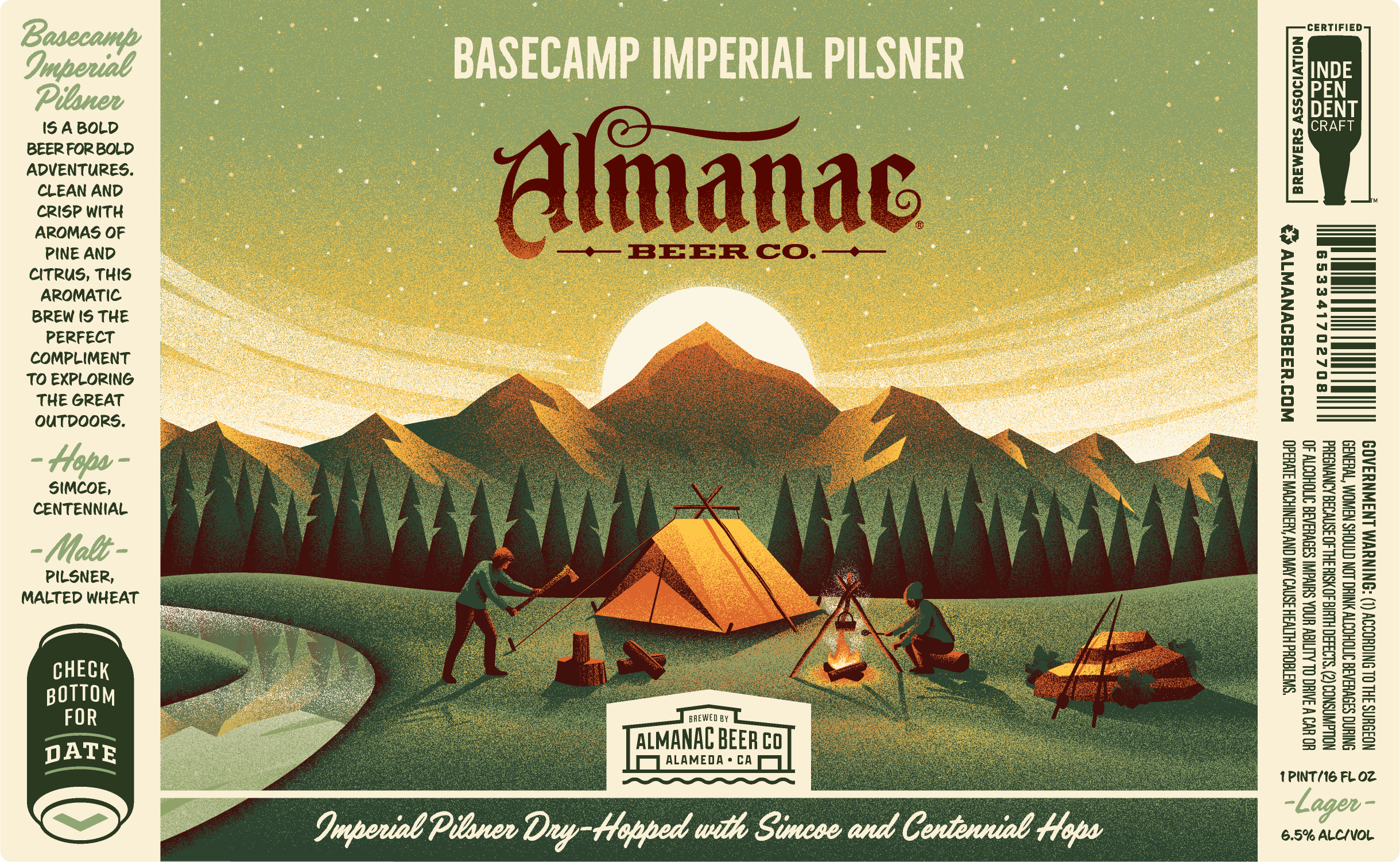 Basecamp Imperial Pilsner label by DKNG