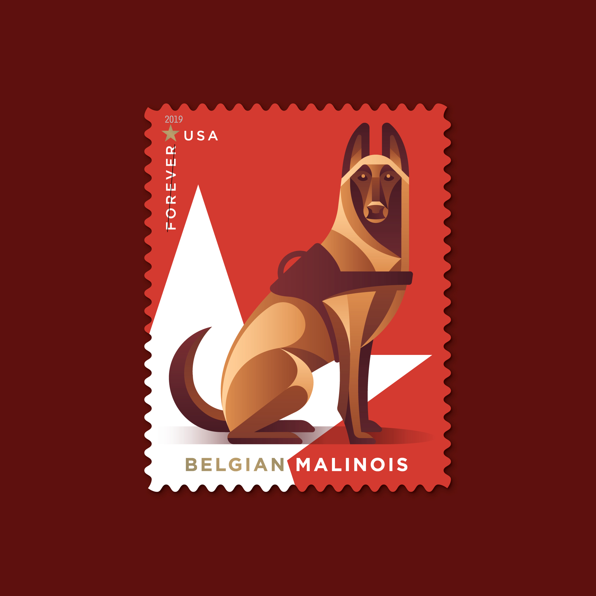 USPS Military Working Dogs Postage Stamps by DKNG