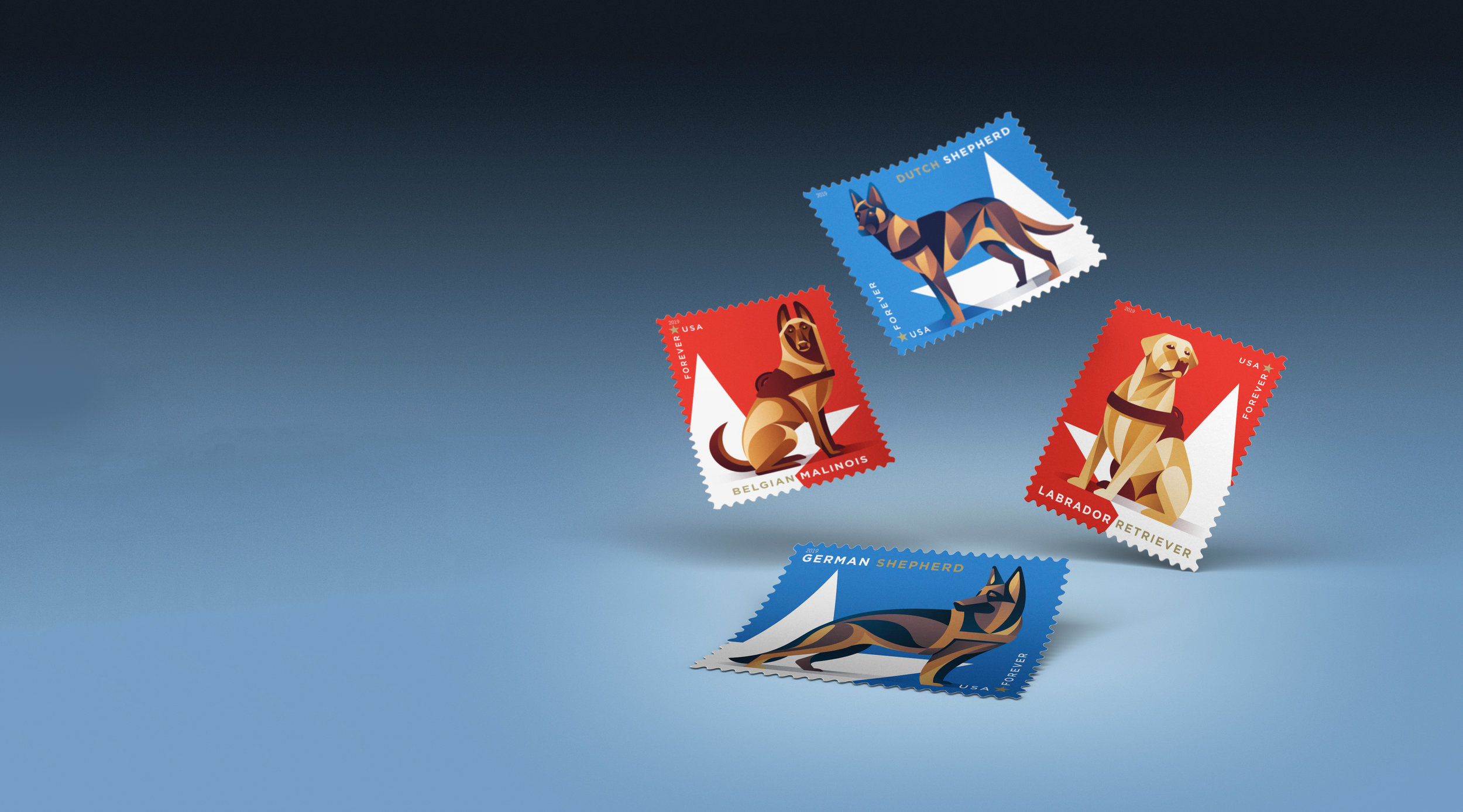 USPS Stamps   The design & illustration behind the Military Working Dogs postage stamps   LEARN MORE