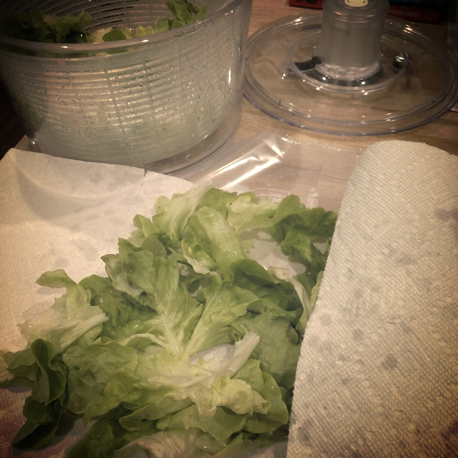 big paper towel o greens. note the salad spinner in the background.