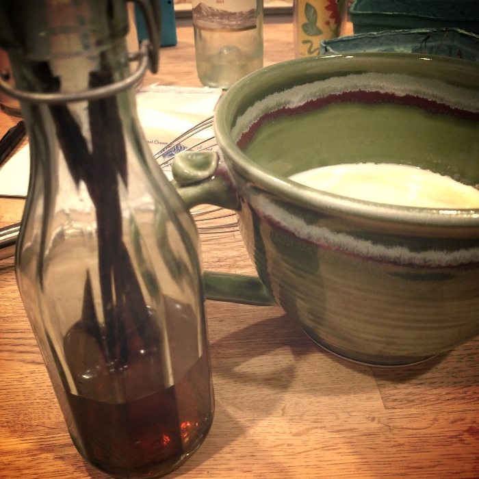 homemade vanilla and batter. And sippy cup. And wine.