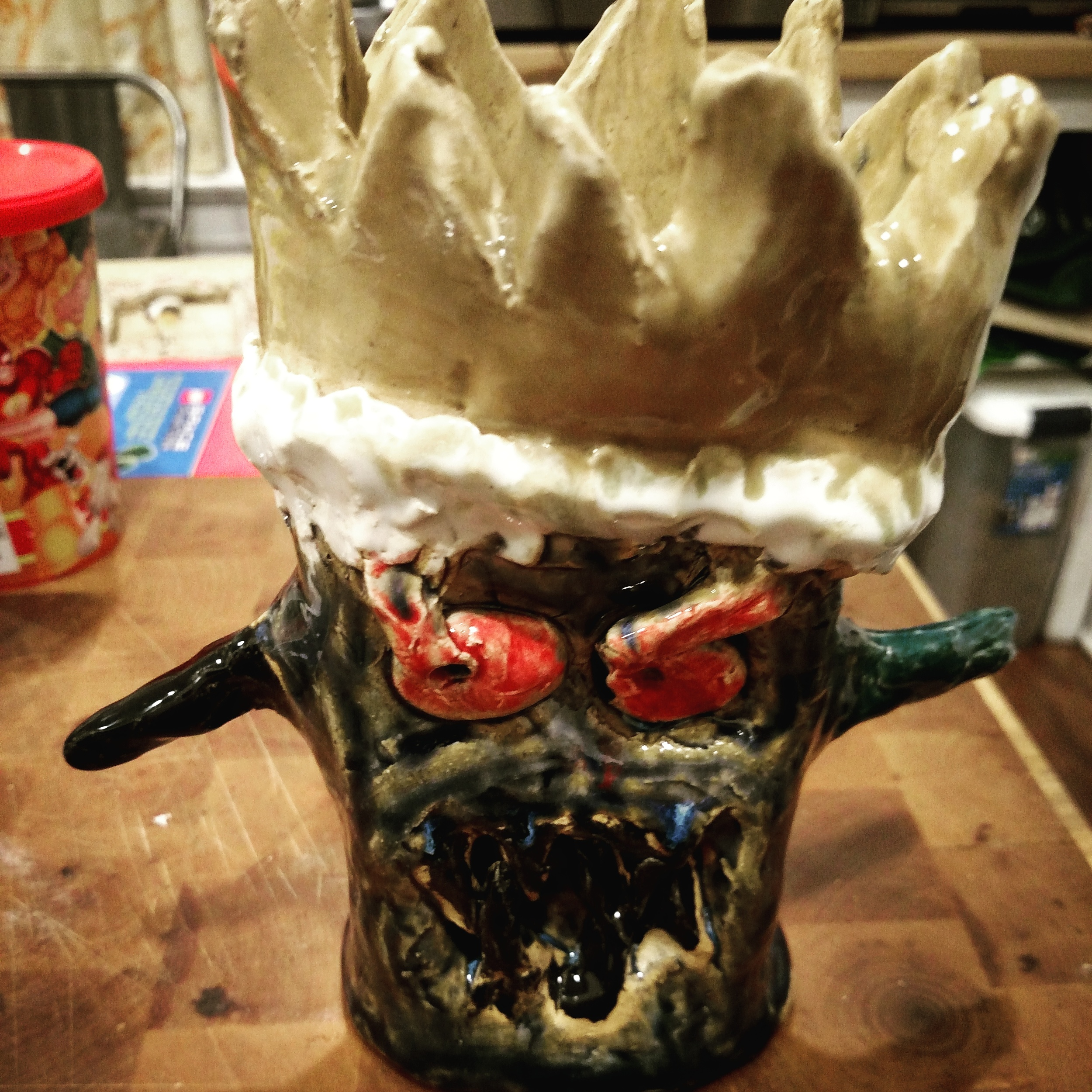 Biggest Little's King of the monsters, from his pottery camp this summer.