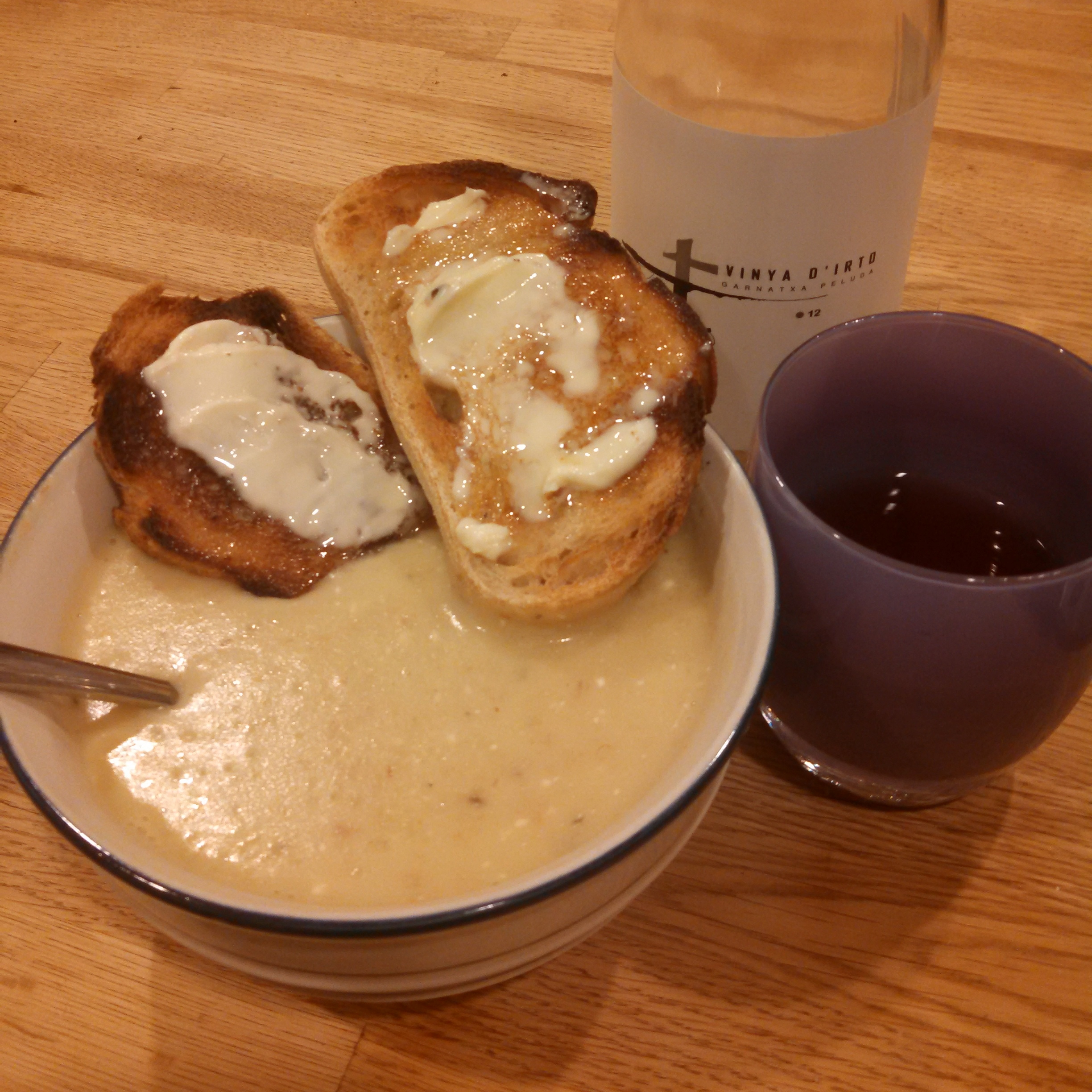 Ok, I lied when I said no pictures.  Maybe no current pictures? This is of a dinner last winter. Please to note the wine, and buttered toast as garnishes.