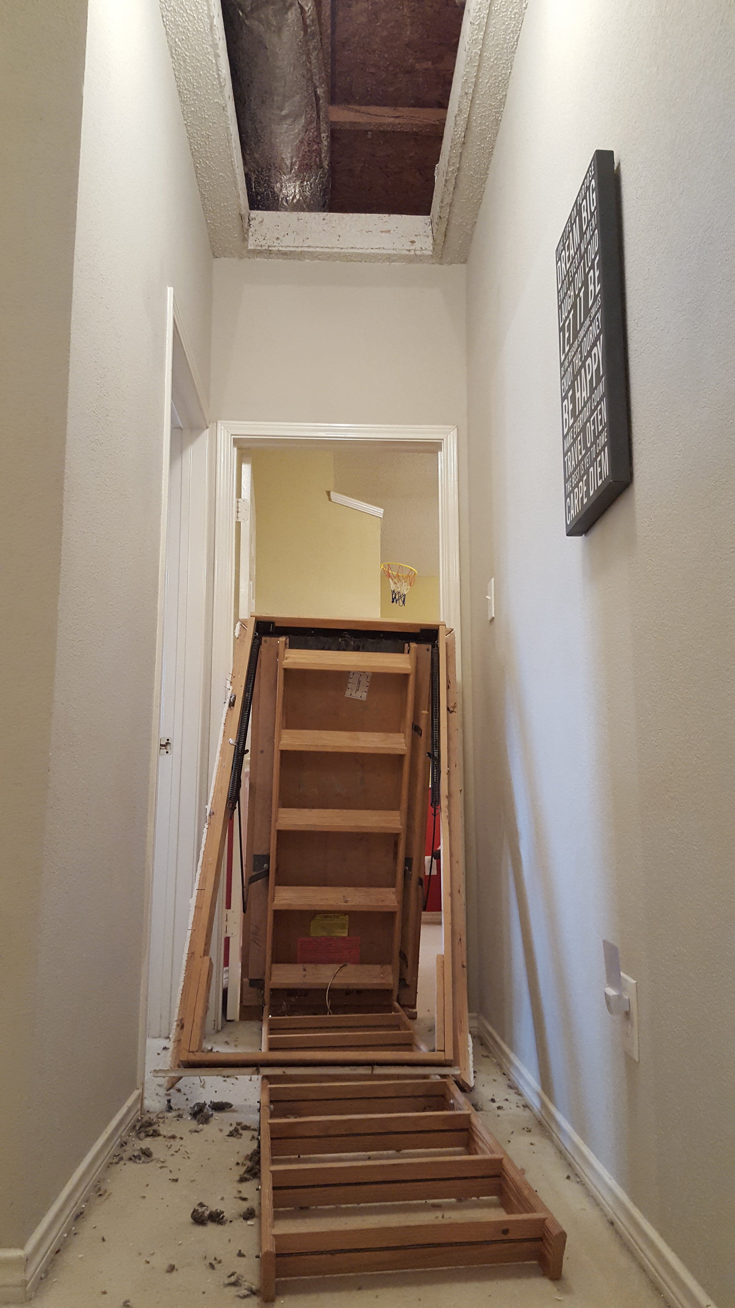 Attic access pull down staircase collapsed during inspection: here is a great example to why it is important to hire a qualified contractor for all jobs.    ( potential fatal injuries to my clients were avoided )