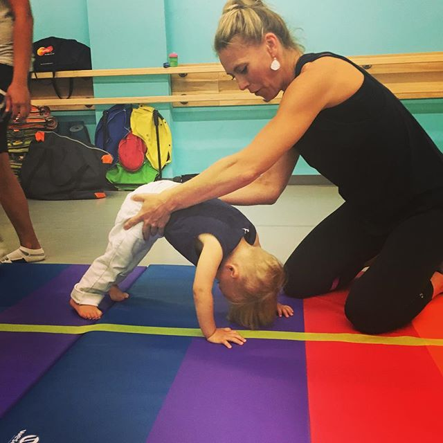 Working on donkey kicks #tumbletots  #sprouts_kids class! Fall term starts Sept 14th.
