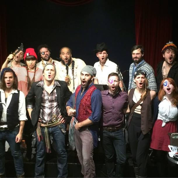 The cast (minus Amber Gray)of Uncharted Sounding-Off concert of The Royal Pyrate - 12/12/14 at Ars Nova.