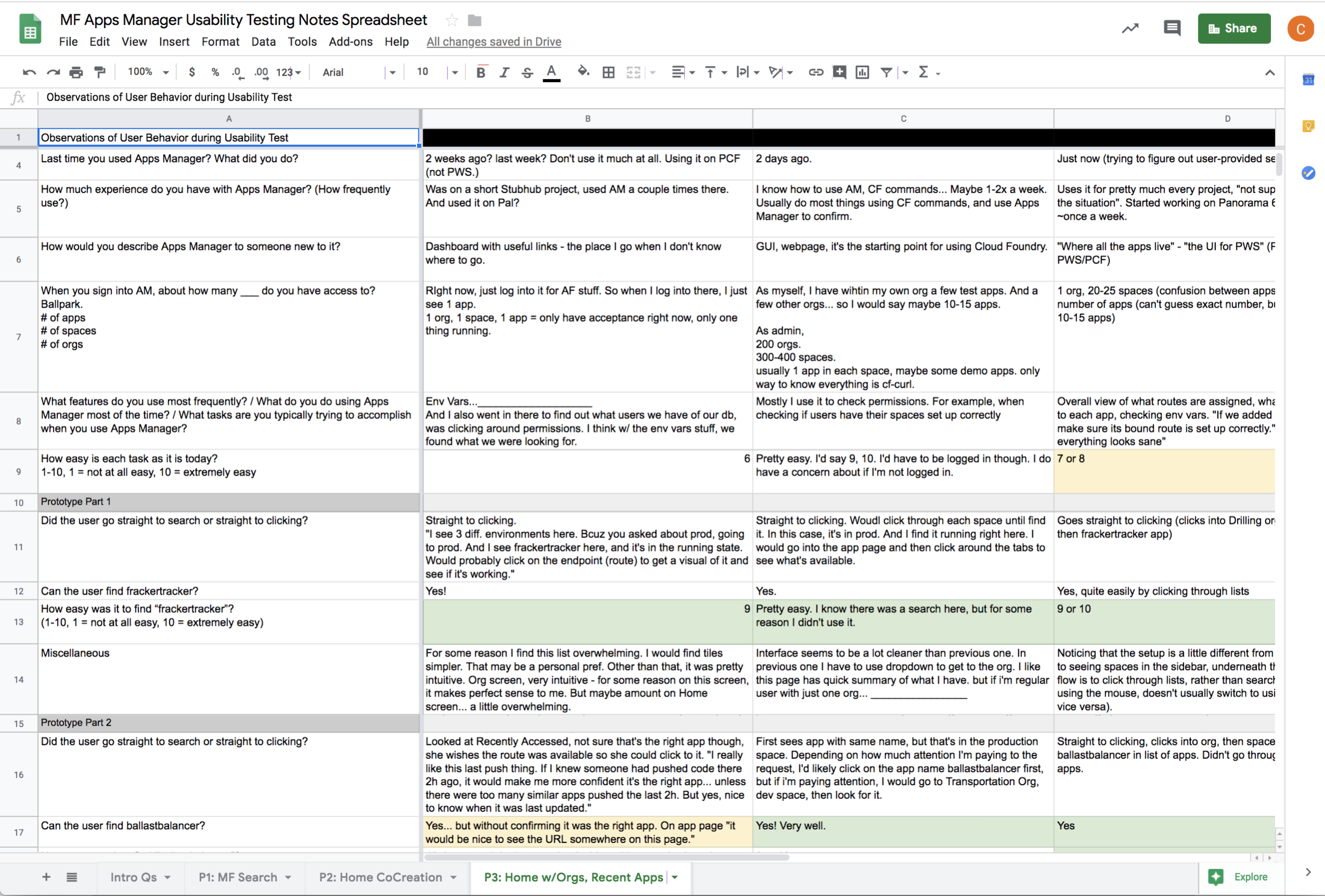 Our usability testing notes were captures in Google Sheets, after which we synthesized across rows the trends and behavior we were observing.