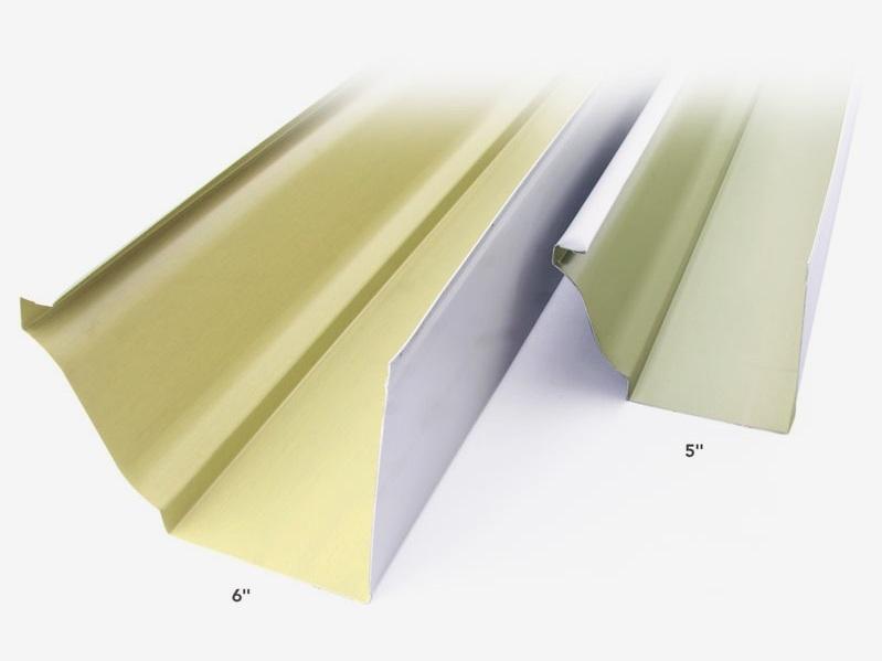 "5"" Gutter 26 colors   6"" Gutter  30 colors  .027 gauge aluminum  4 premium colors in .032 gauge"