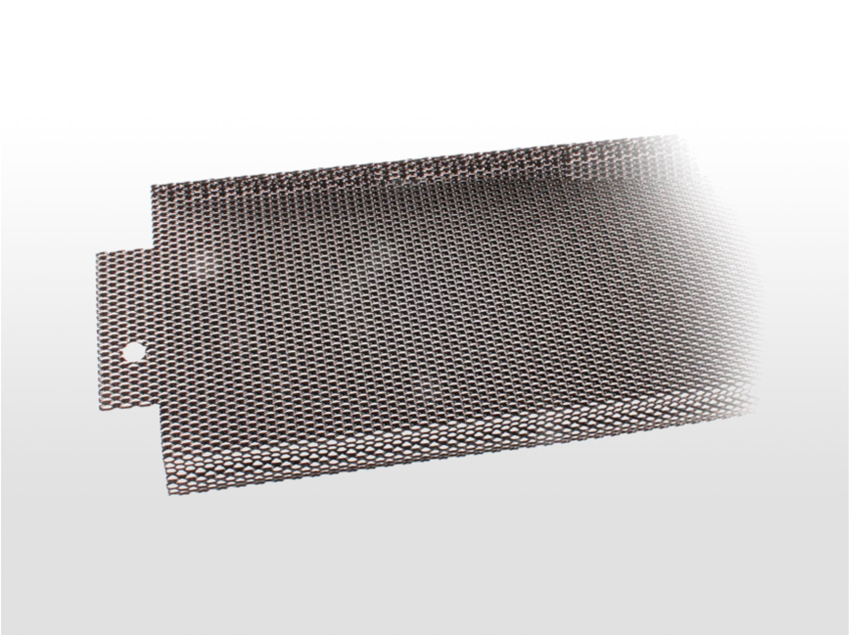 """E-Z MICRO MESH™ Gutter Screen   An aluminum black powder coated designed with three 90º """"steps"""" at the front for great strength and to snap under the gutter hem. Super small hole design prevents debris from clogging gutter.  5 inch (25 4-foot sections/carton) 6 inch (25 4-foot sections/carton)"""