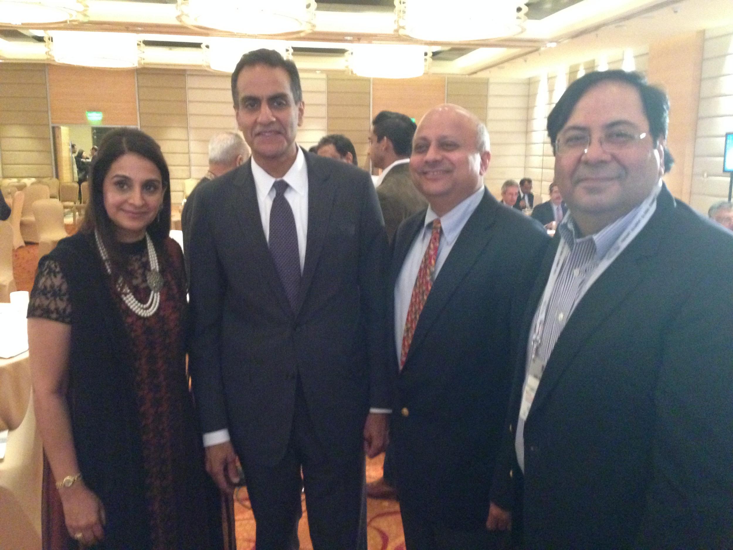 In Photos (Right to Left):Suresh Nichani, Vice Chairman of RootCorp withMr. Richard Rahul Verma,US Ambassador to India, andfellow YPO'er Mr. Vimal Ambani.