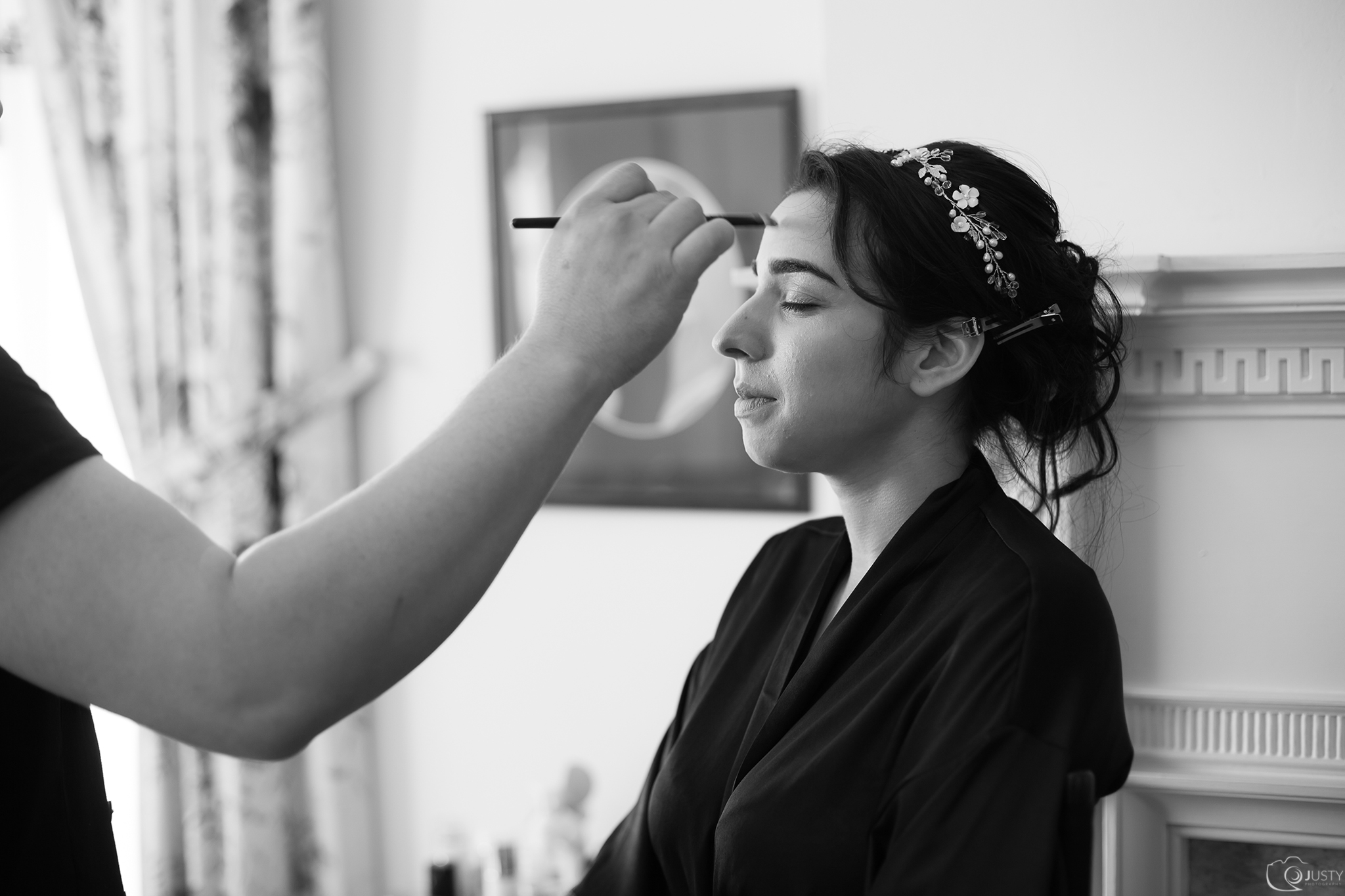 Bride getting ready -Strong Mansion Wedding in Maryland