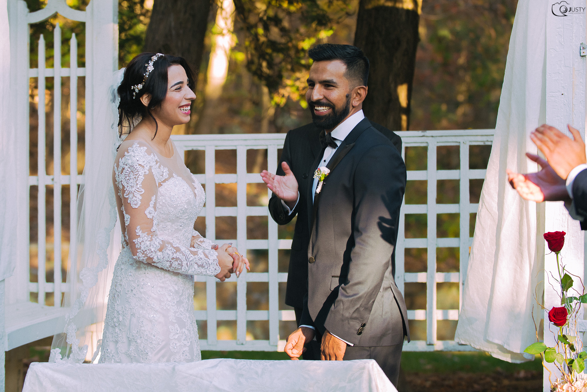 Wedding ceremony bride and groom laughing -Strong Mansion Wedding