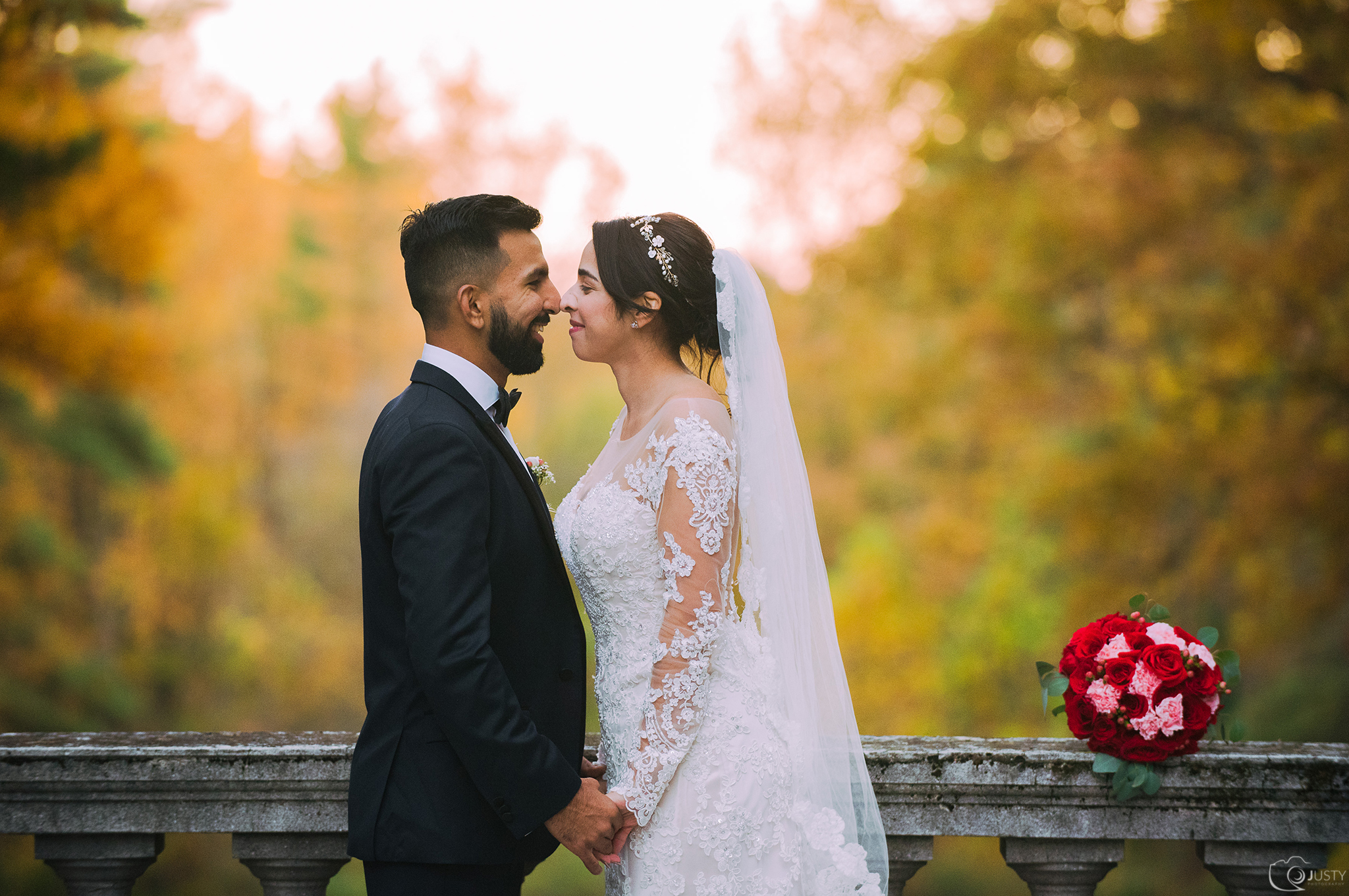 Bride and Groom (Fall wedding)Strong Mansion Pakistani Wedding by Maryland photographers