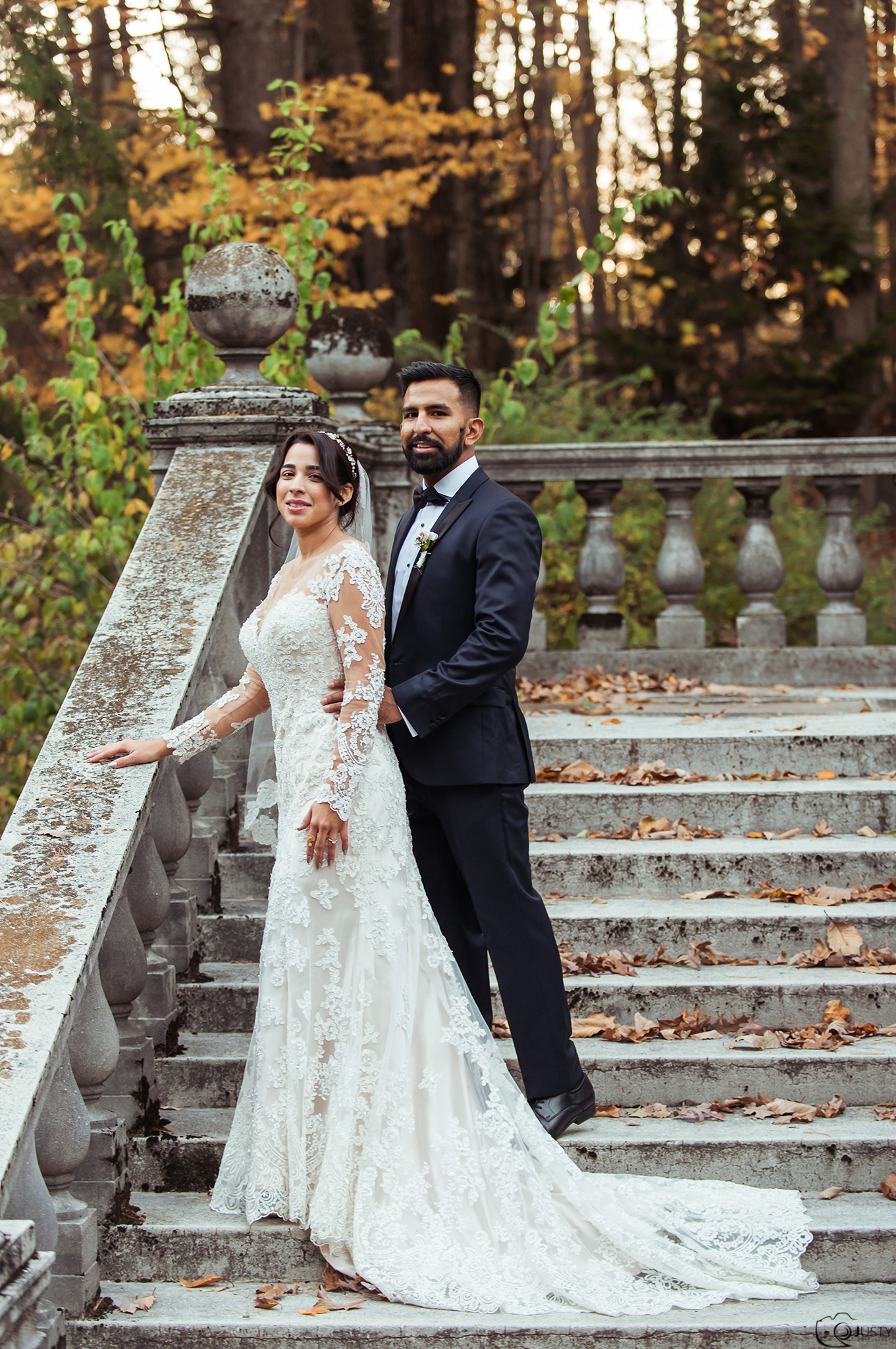 Bride and Groom on stairs of Strong Mansion Maryland - Sugarloaf Mountains