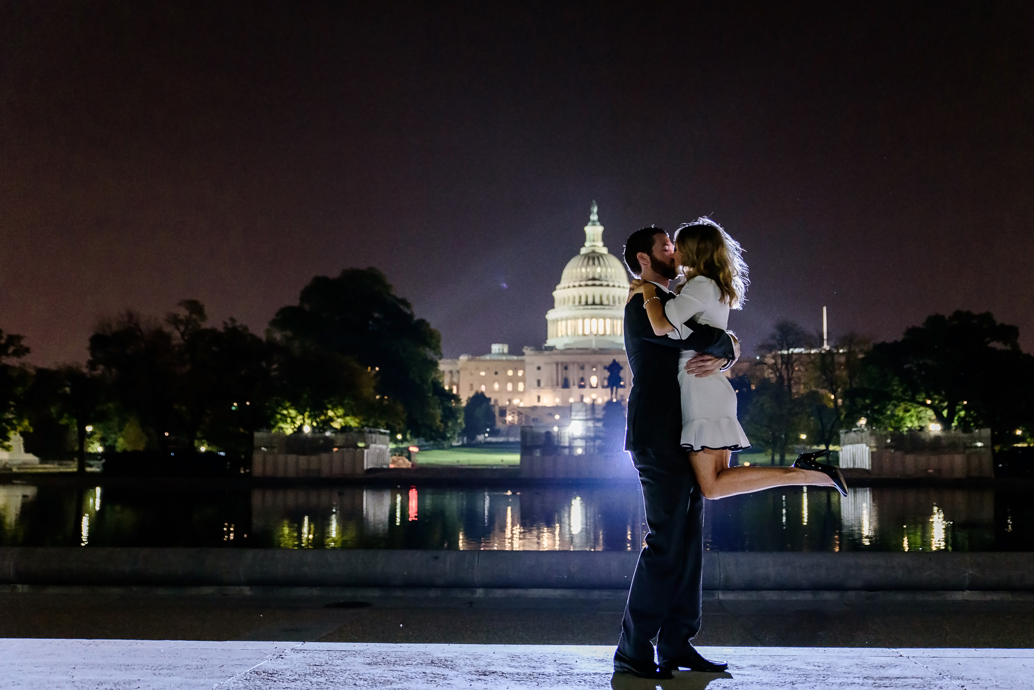 Engagement photos at night by Capitol Building Washington DC