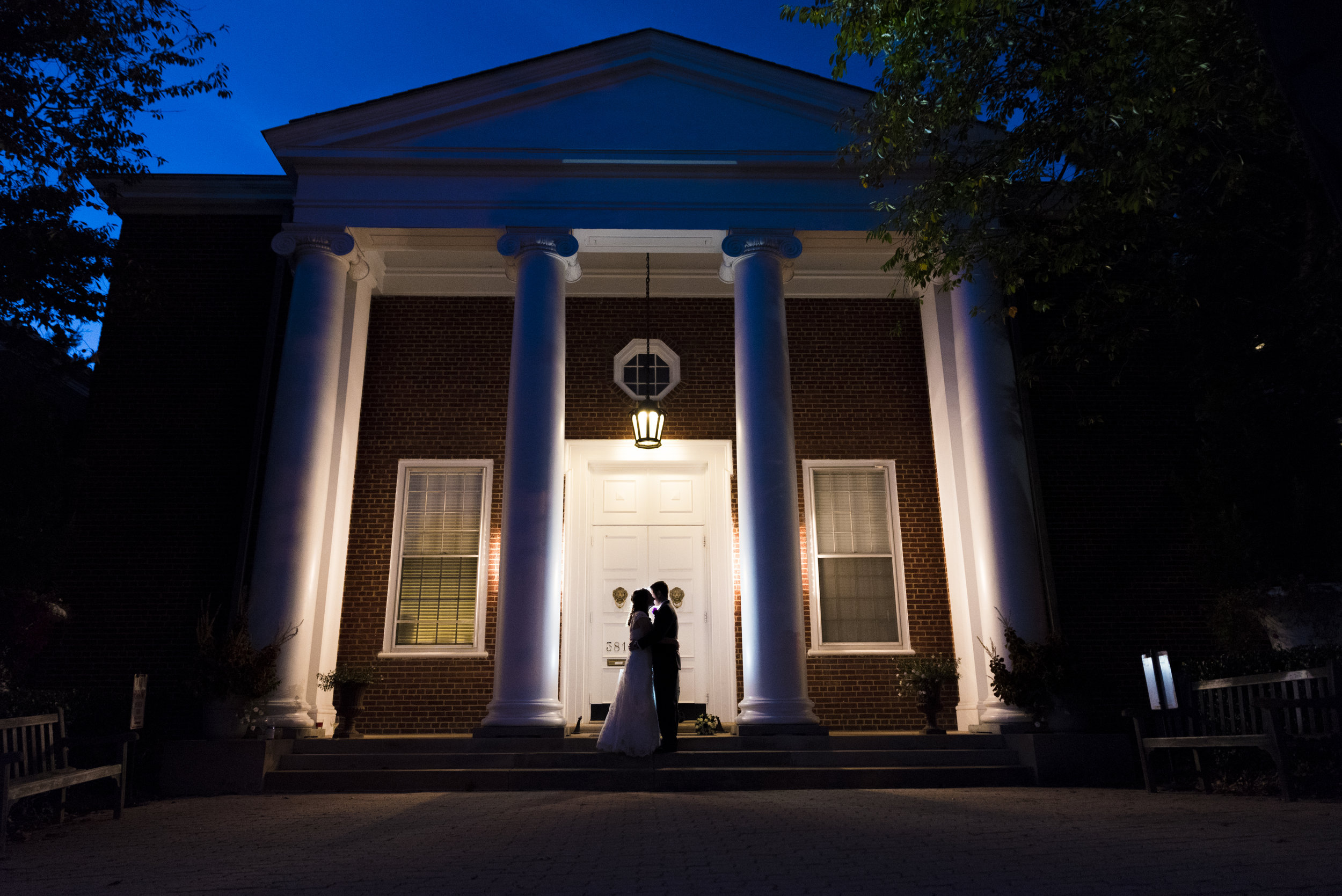 McLean Gardens Ballroom Wedding Photos at night - DC