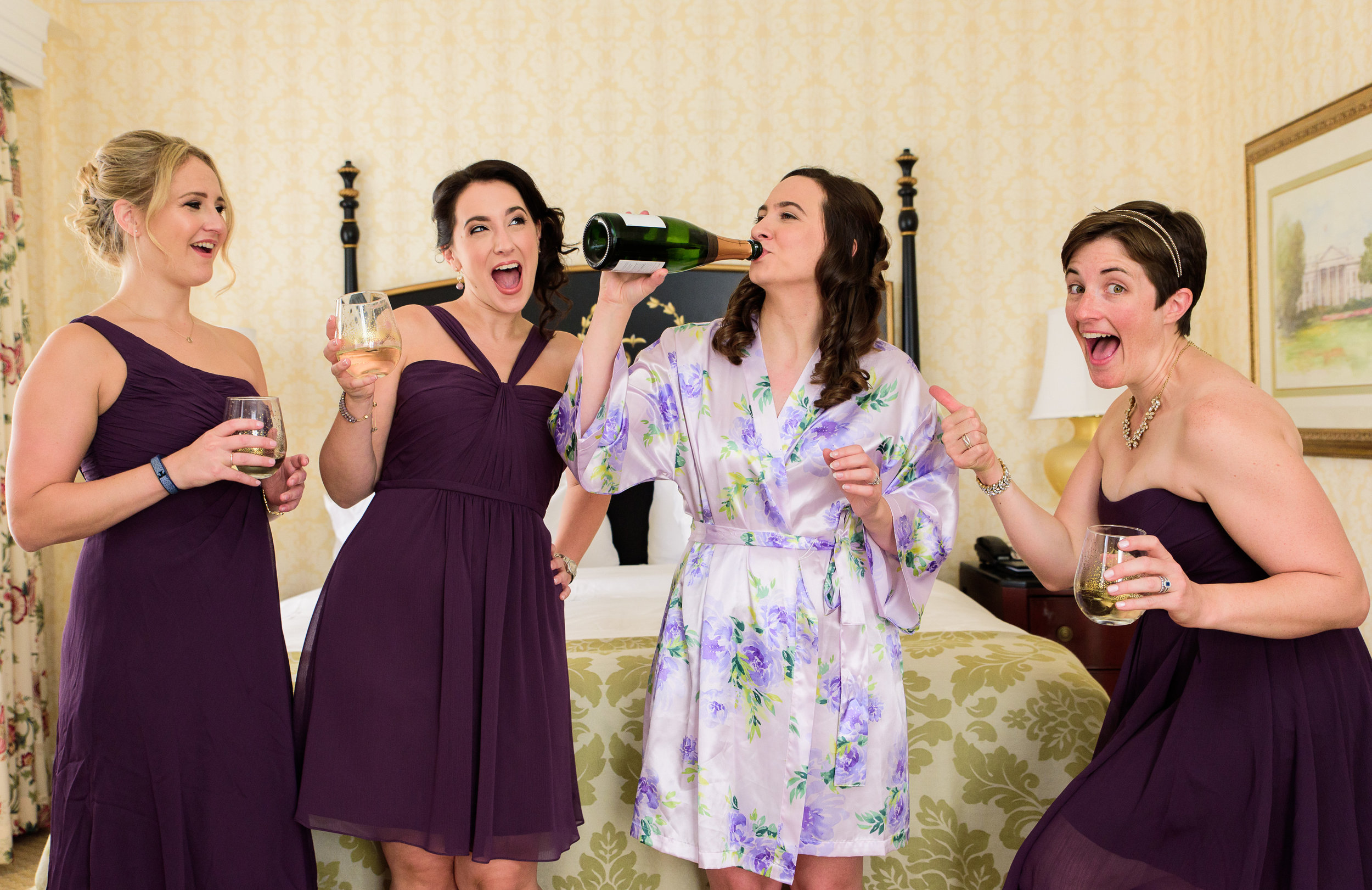 Bride getting ready at The Fairfax at Embassy Row DC - Bridesmaids fun photos