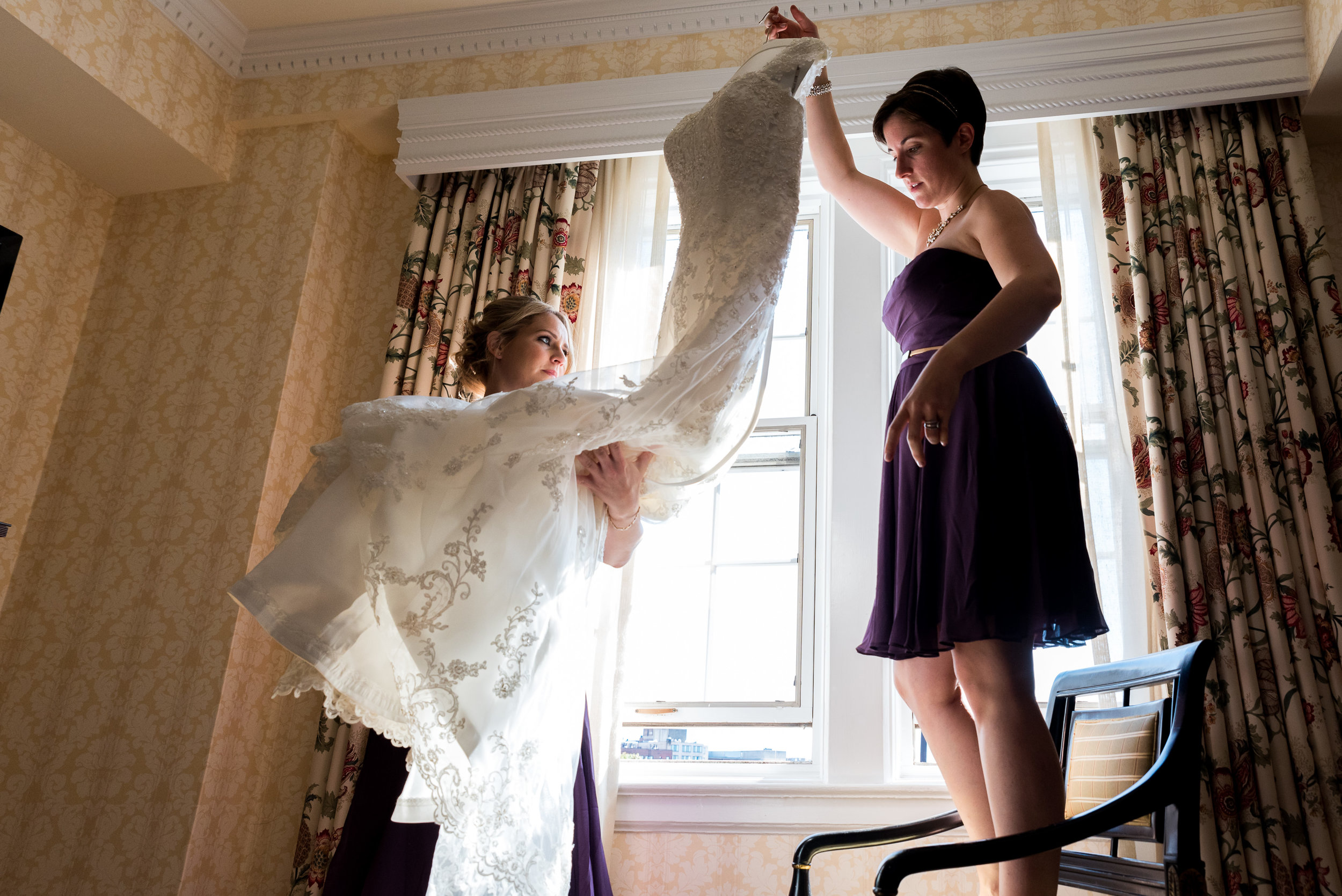 Bride getting ready at The Fairfax at Embassy Row DC - Bridesmaids candid photography