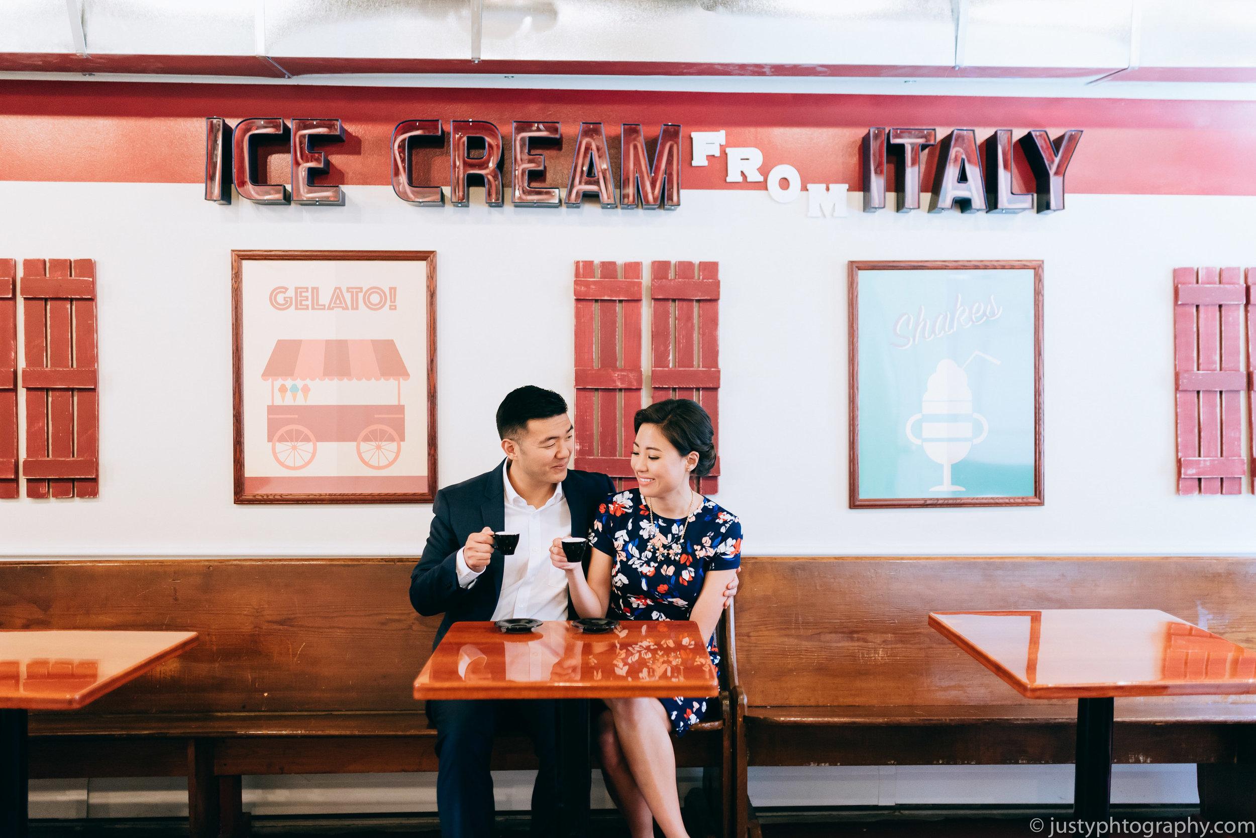 Ice Cream Shop Engagement Photography DC