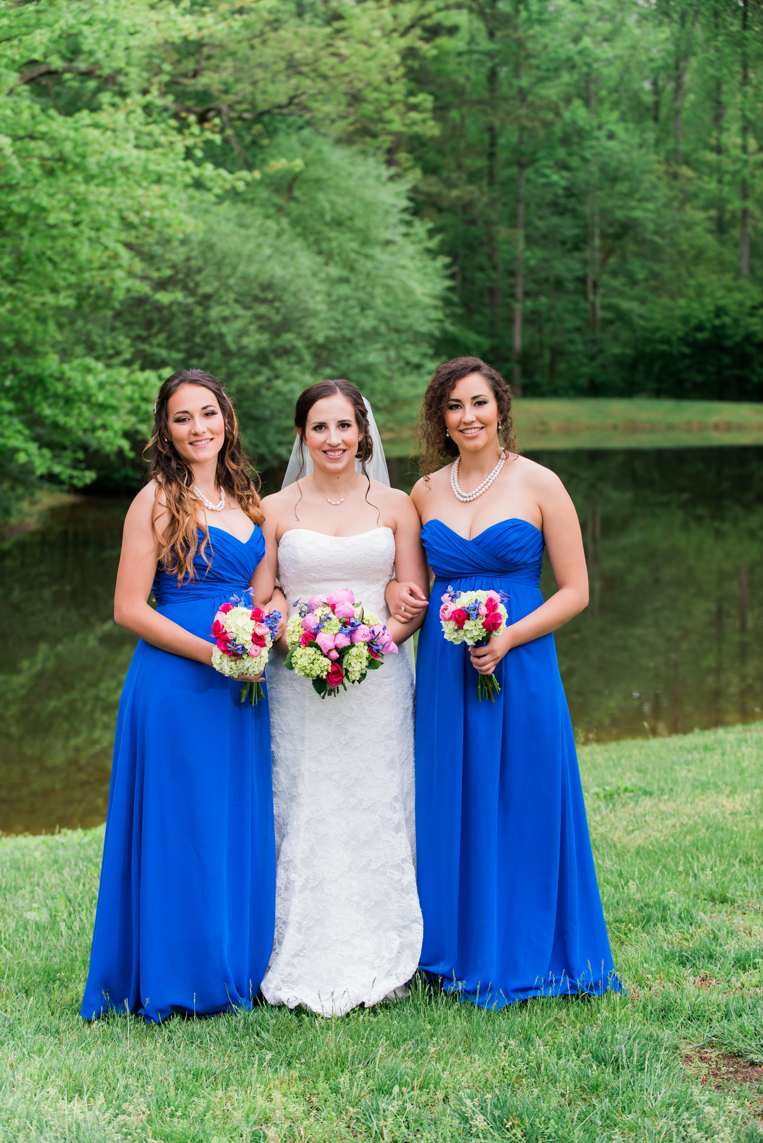 Blue , gold and white wedding bridesmaids dresses